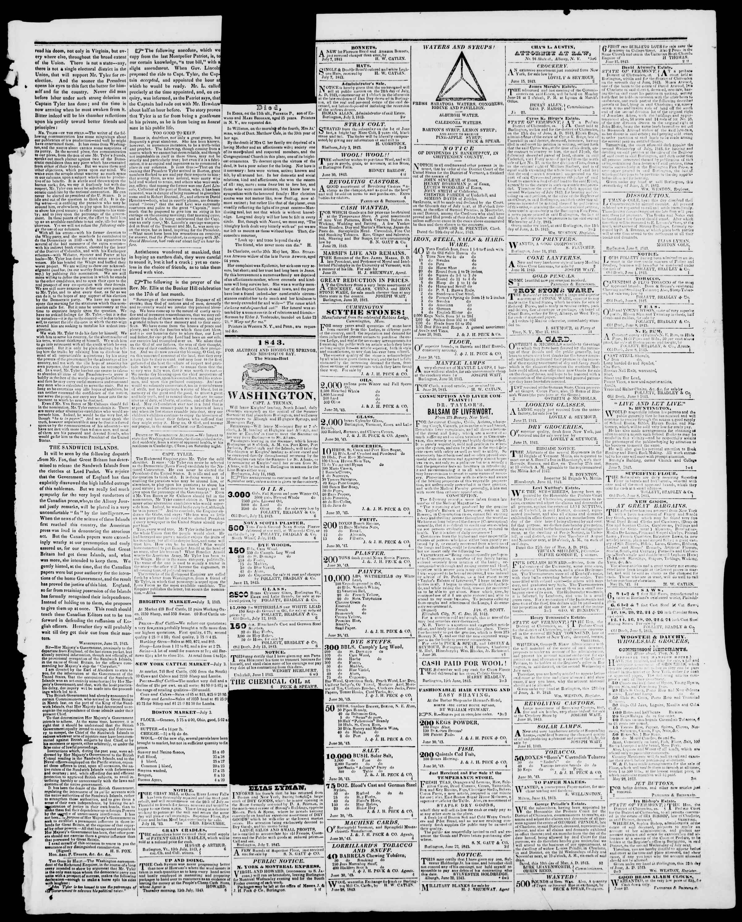 Newspaper of Burlington Free Press dated July 14, 1843 Page 3