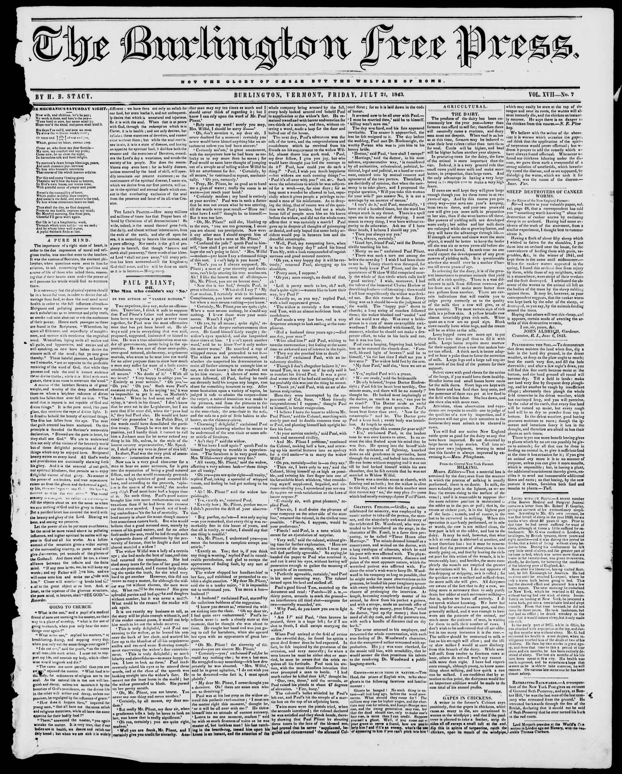 Newspaper of Burlington Free Press dated July 21, 1843 Page 1