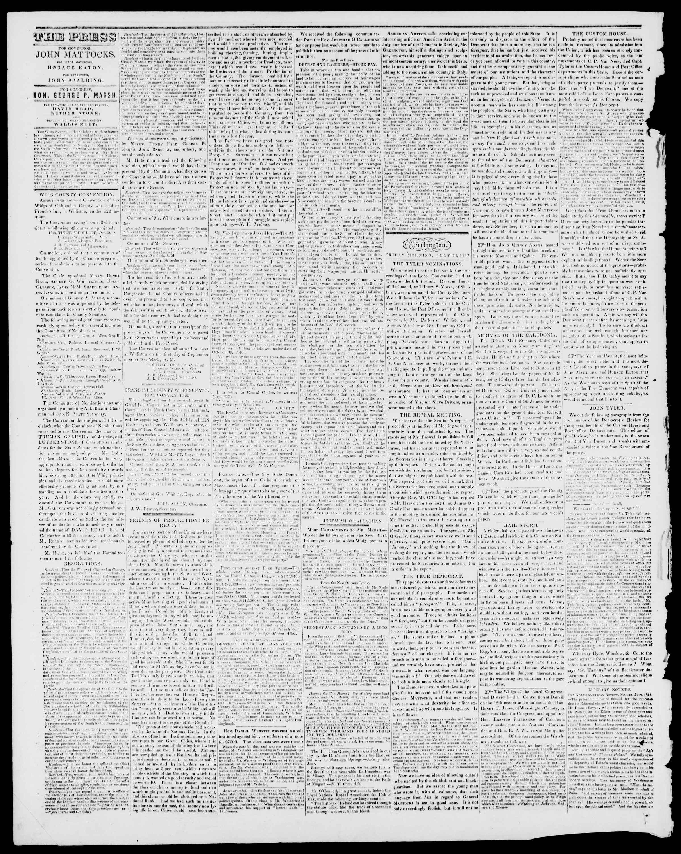 Newspaper of Burlington Free Press dated July 21, 1843 Page 2