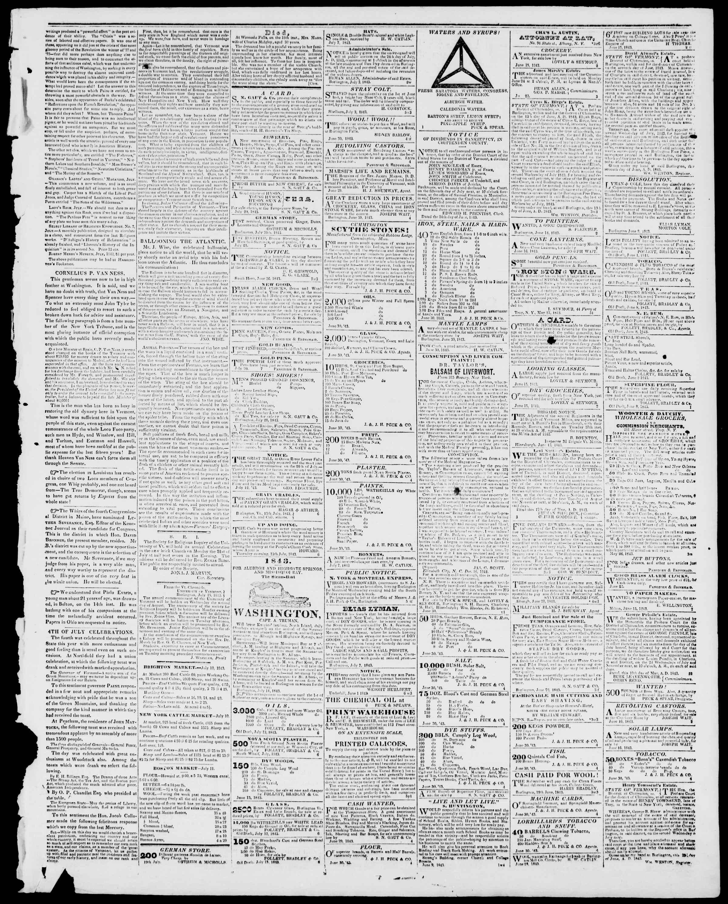 Newspaper of Burlington Free Press dated July 21, 1843 Page 3