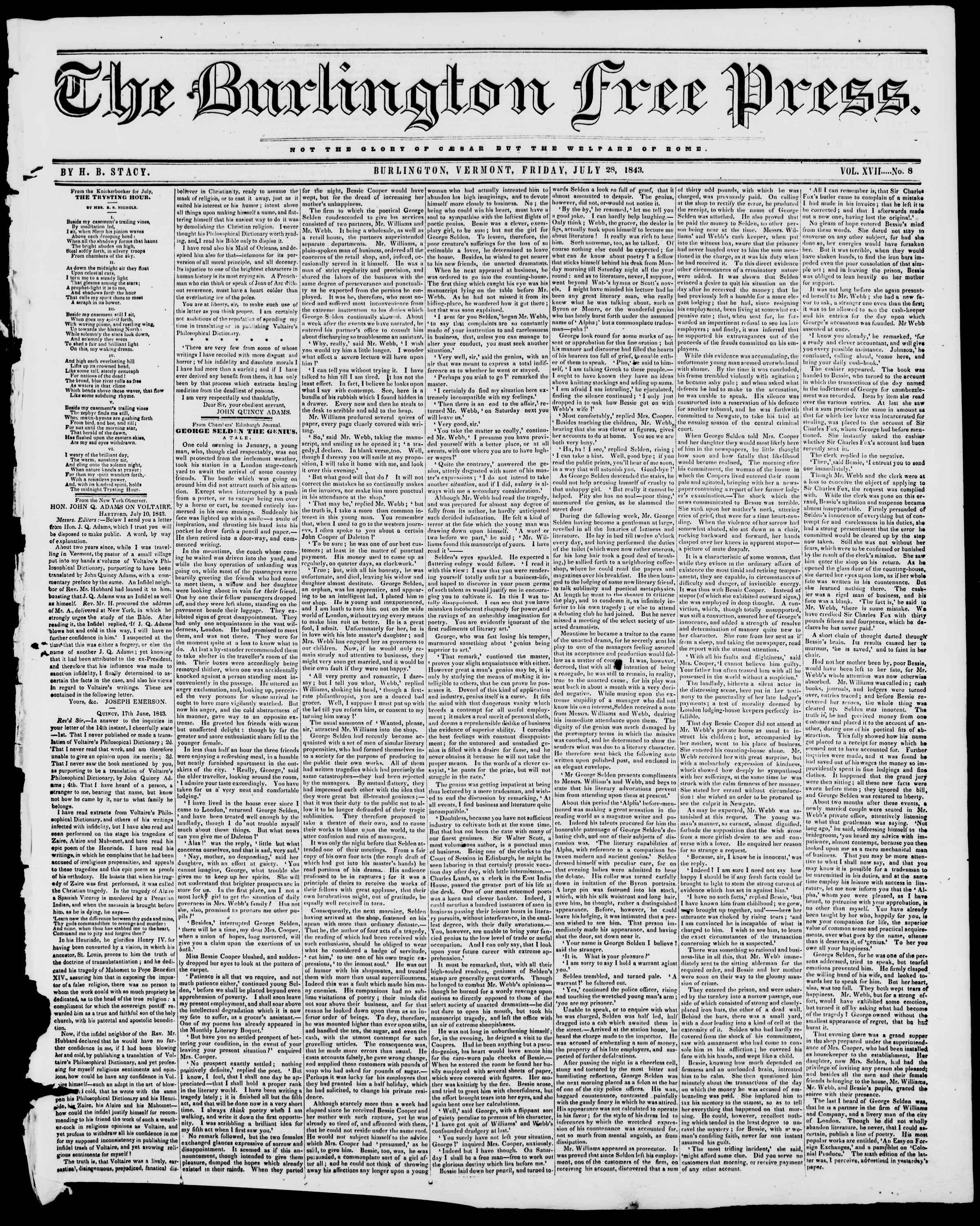 Newspaper of Burlington Free Press dated July 28, 1843 Page 1