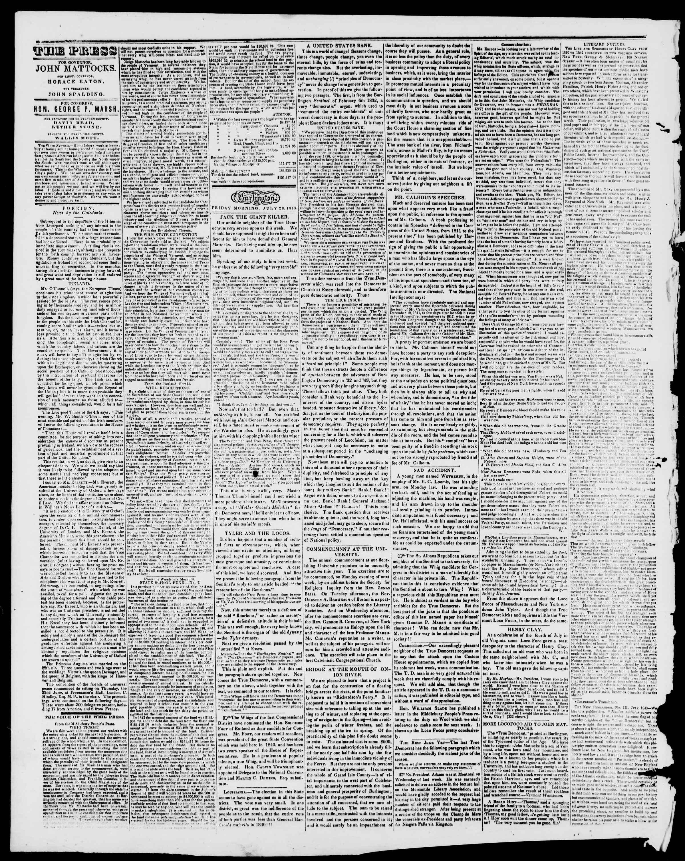 Newspaper of Burlington Free Press dated July 28, 1843 Page 2