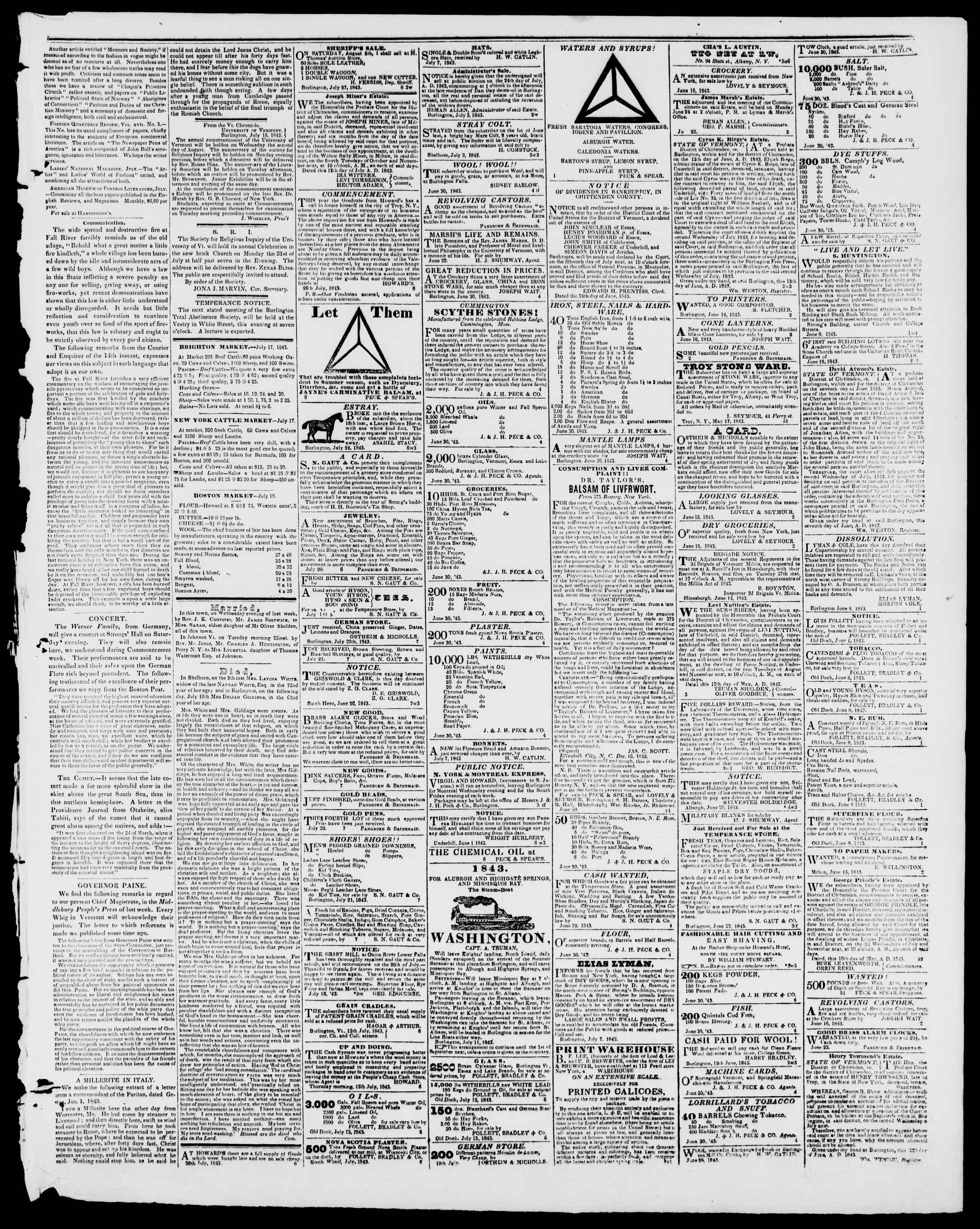 Newspaper of Burlington Free Press dated July 28, 1843 Page 3