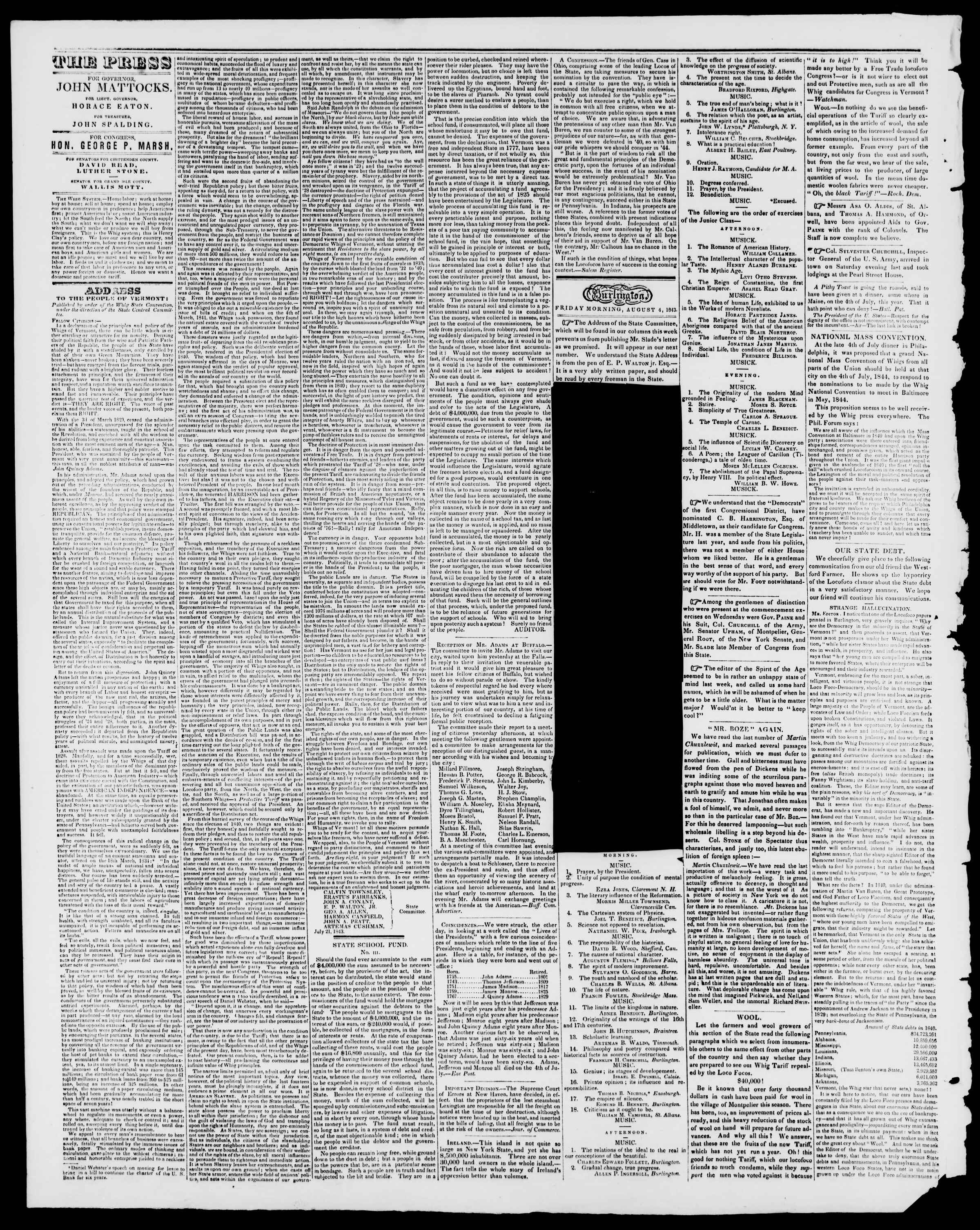 Newspaper of Burlington Free Press dated 4 Ağustos 1843 Page 2