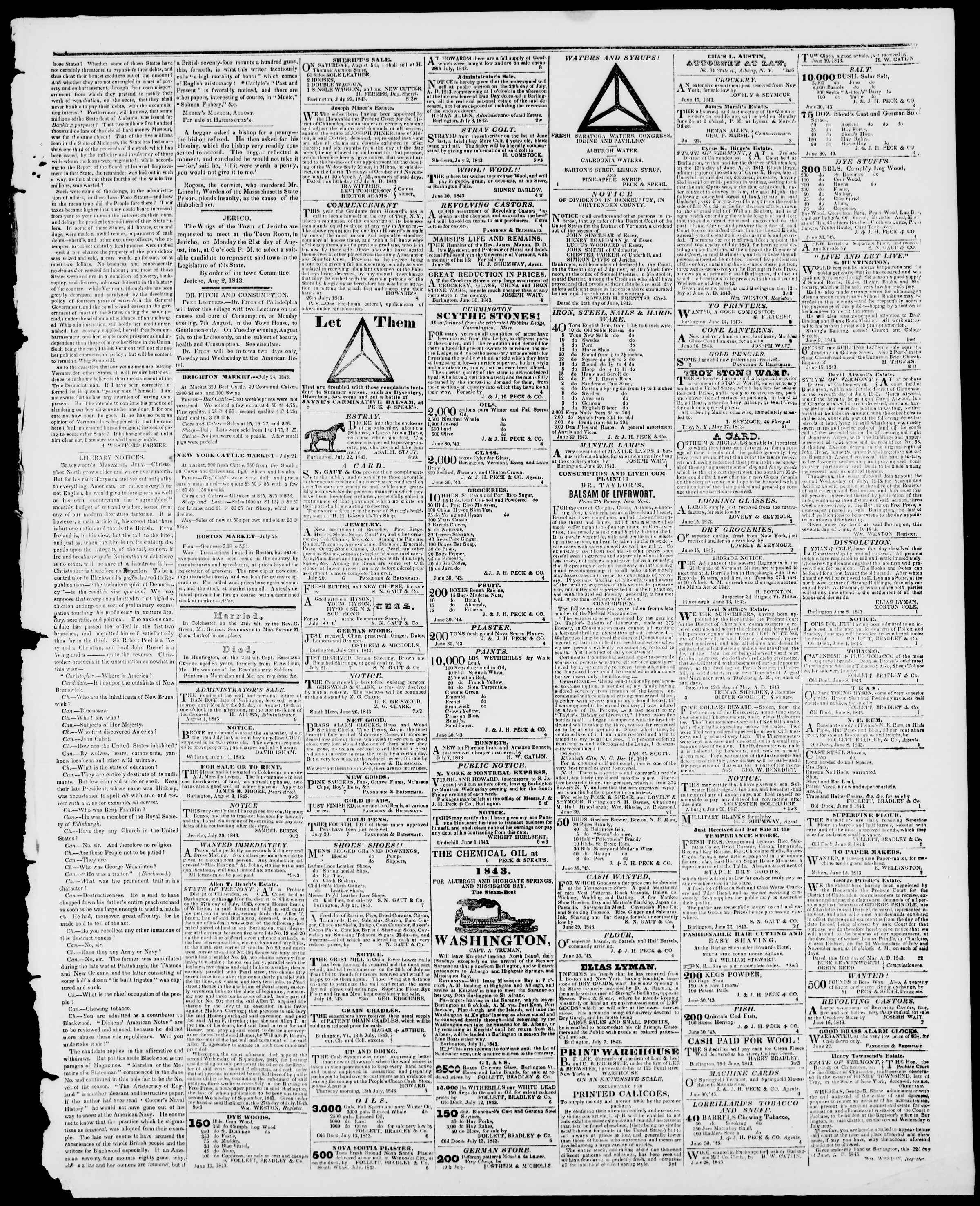 Newspaper of Burlington Free Press dated August 4, 1843 Page 3