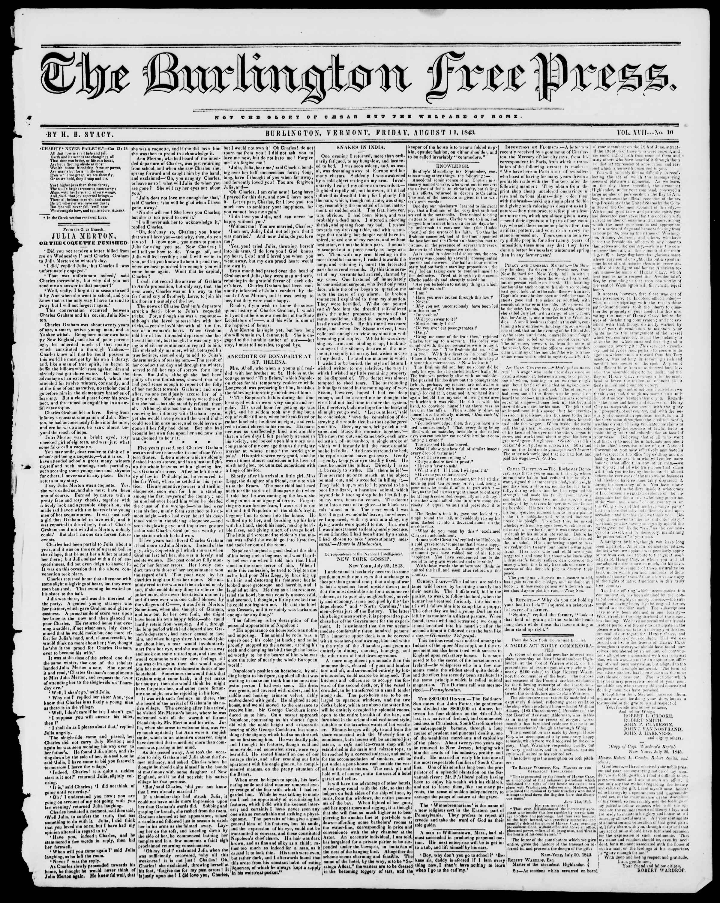 Newspaper of Burlington Free Press dated August 11, 1843 Page 1