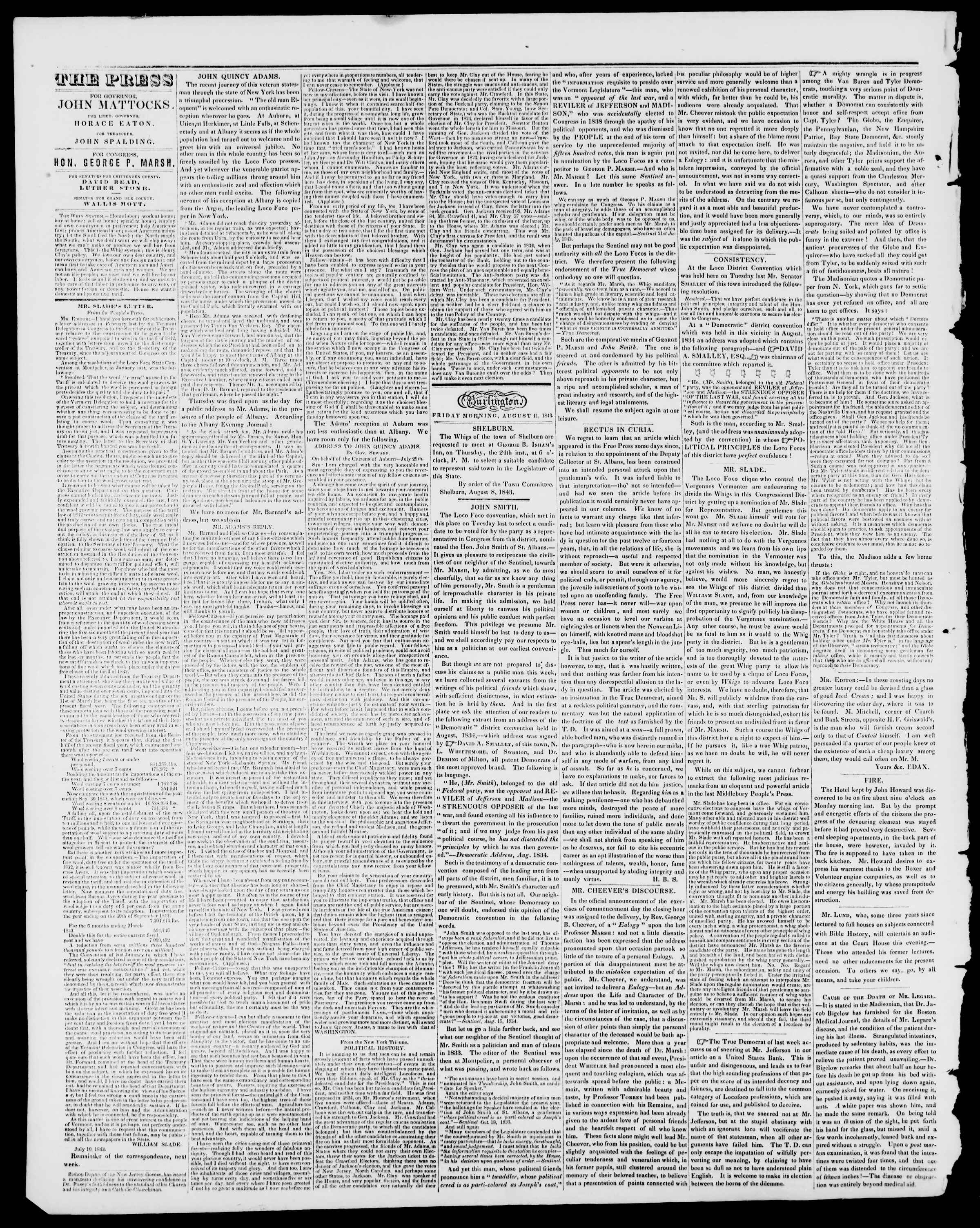 Newspaper of Burlington Free Press dated August 11, 1843 Page 2