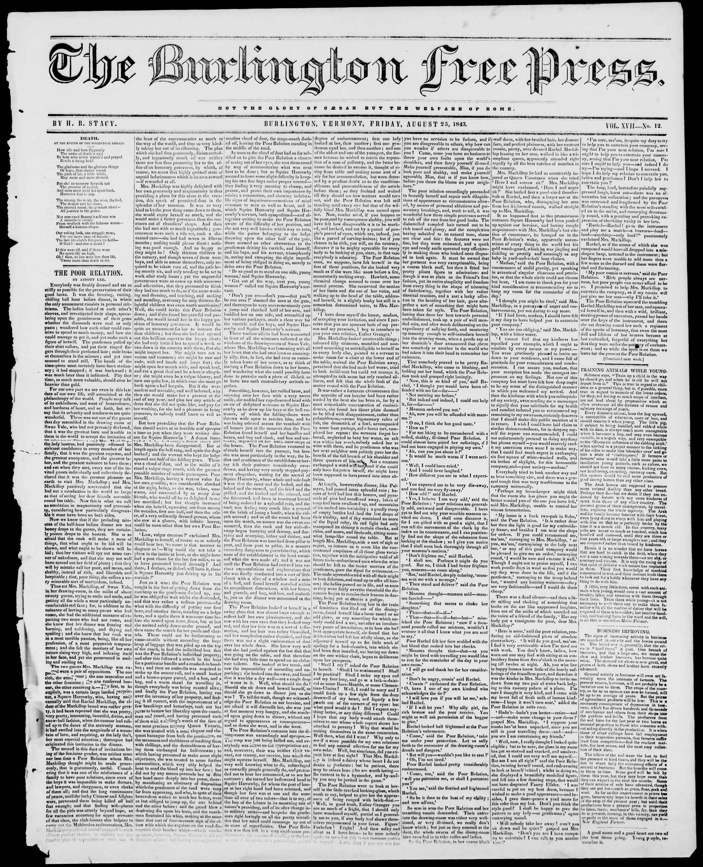 Newspaper of Burlington Free Press dated August 25, 1843 Page 1