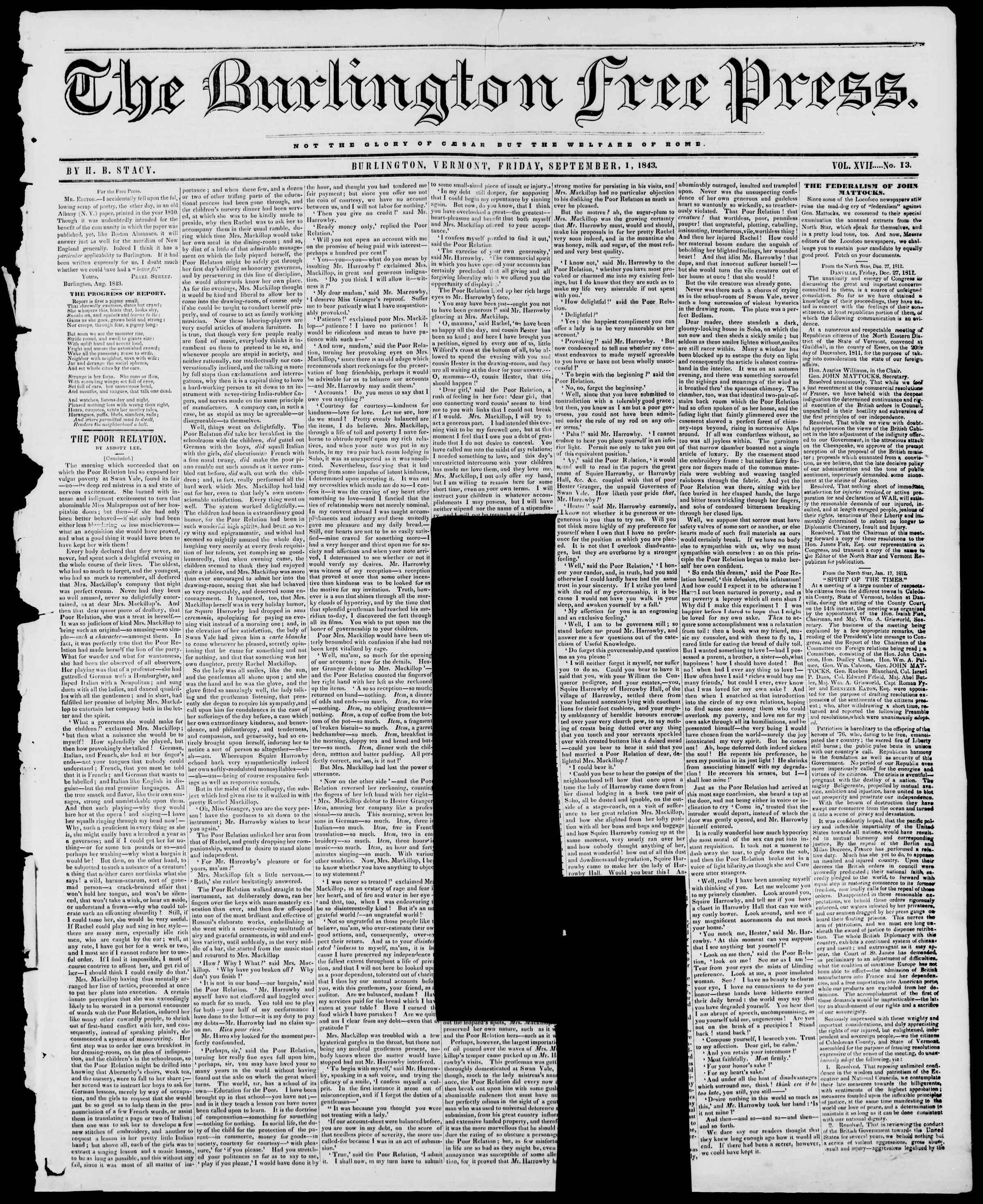 Newspaper of Burlington Free Press dated September 1, 1843 Page 1