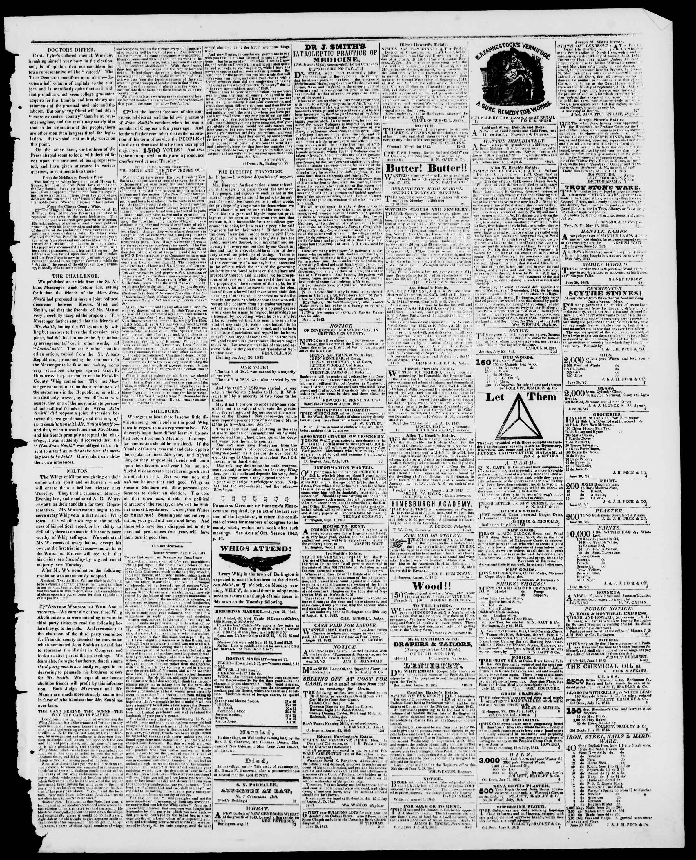 Newspaper of Burlington Free Press dated September 1, 1843 Page 3