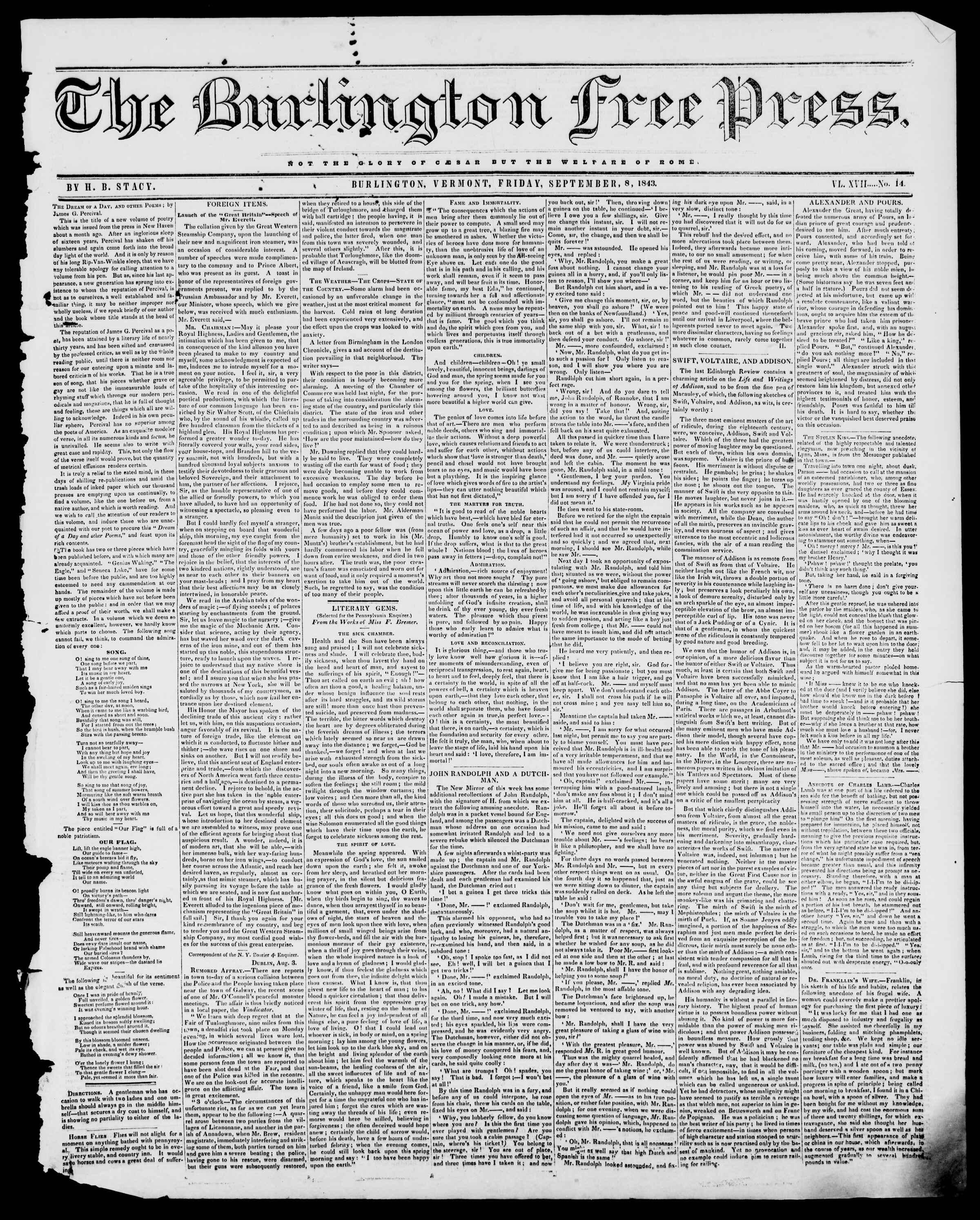 Newspaper of Burlington Free Press dated September 8, 1843 Page 1