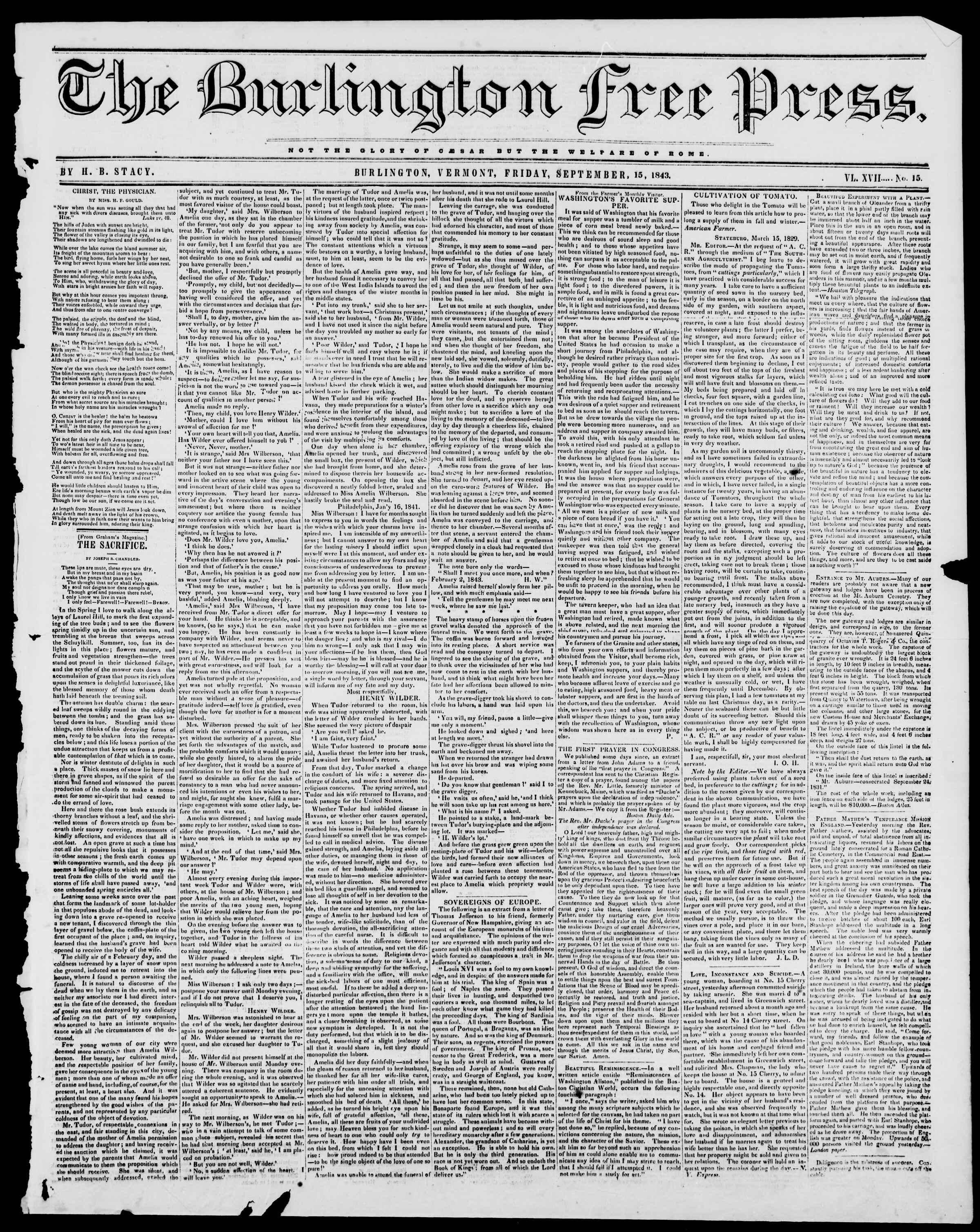 Newspaper of Burlington Free Press dated September 15, 1843 Page 1