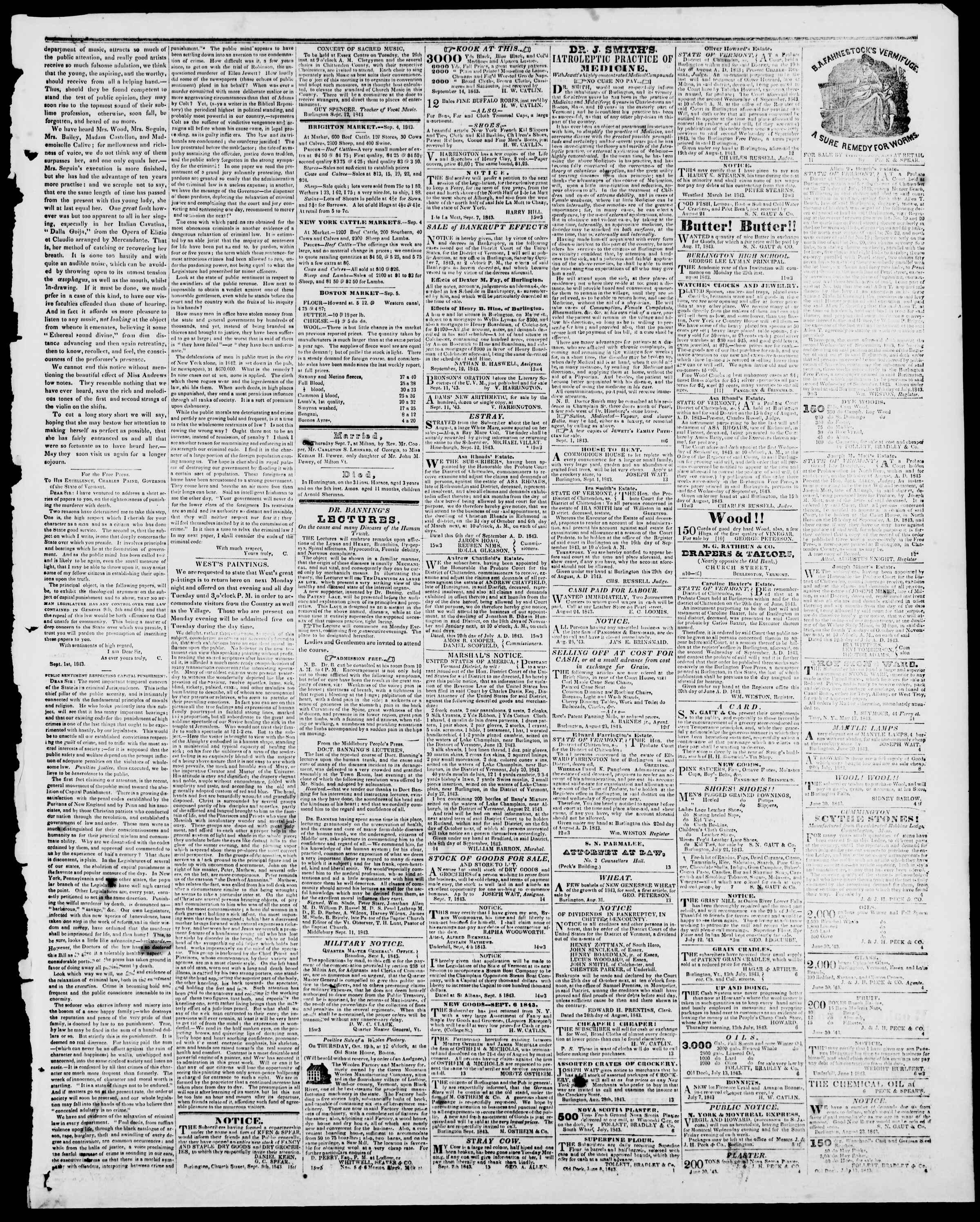 Newspaper of Burlington Free Press dated September 15, 1843 Page 3