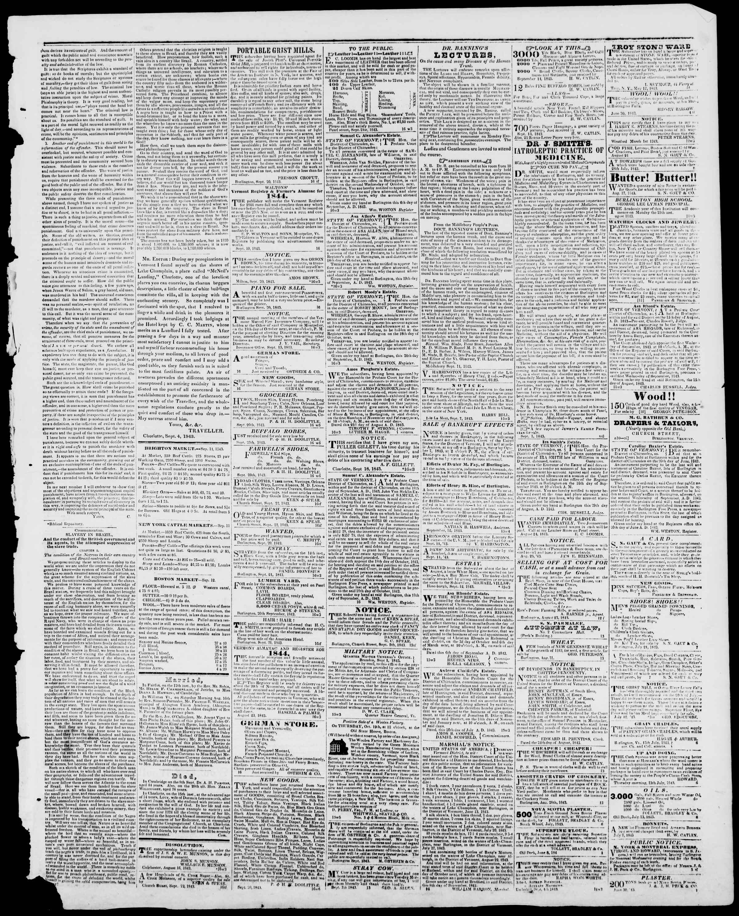 Newspaper of Burlington Free Press dated September 22, 1843 Page 3