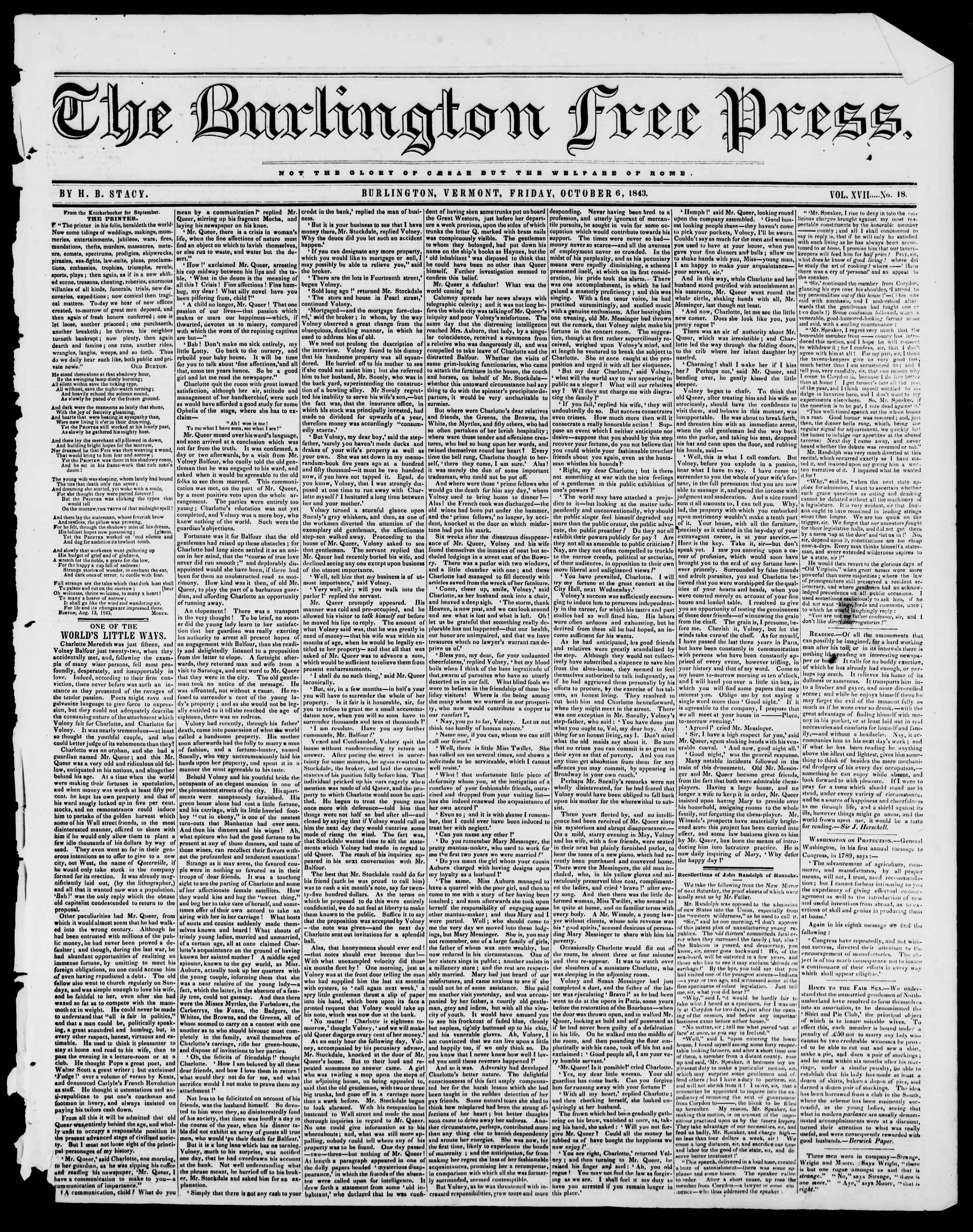 Newspaper of Burlington Free Press dated October 6, 1843 Page 1