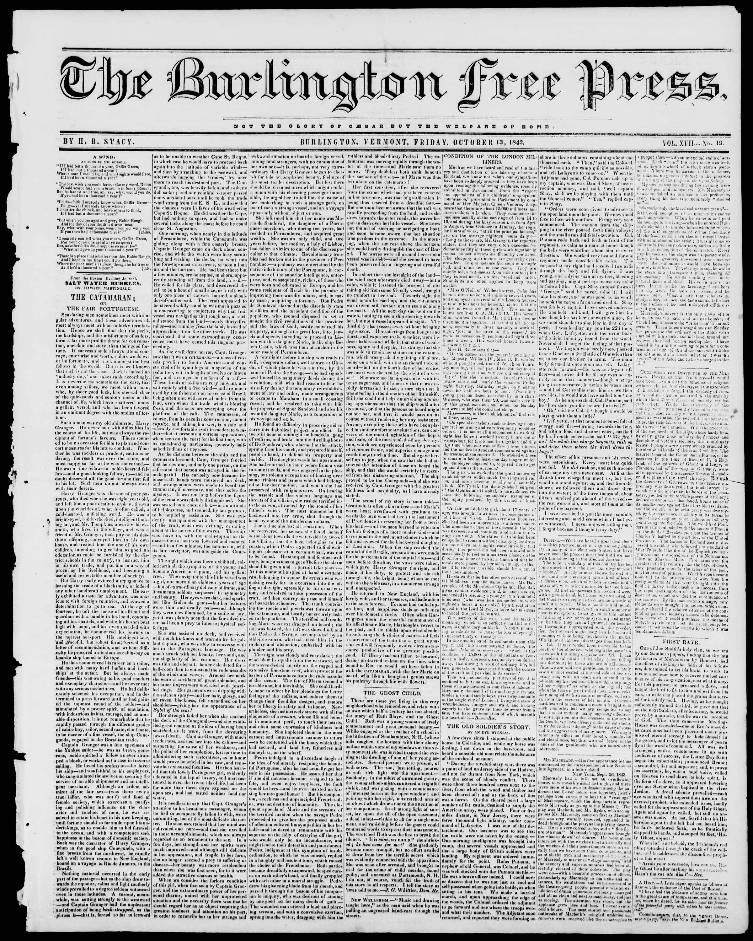 Newspaper of Burlington Free Press dated October 13, 1843 Page 1