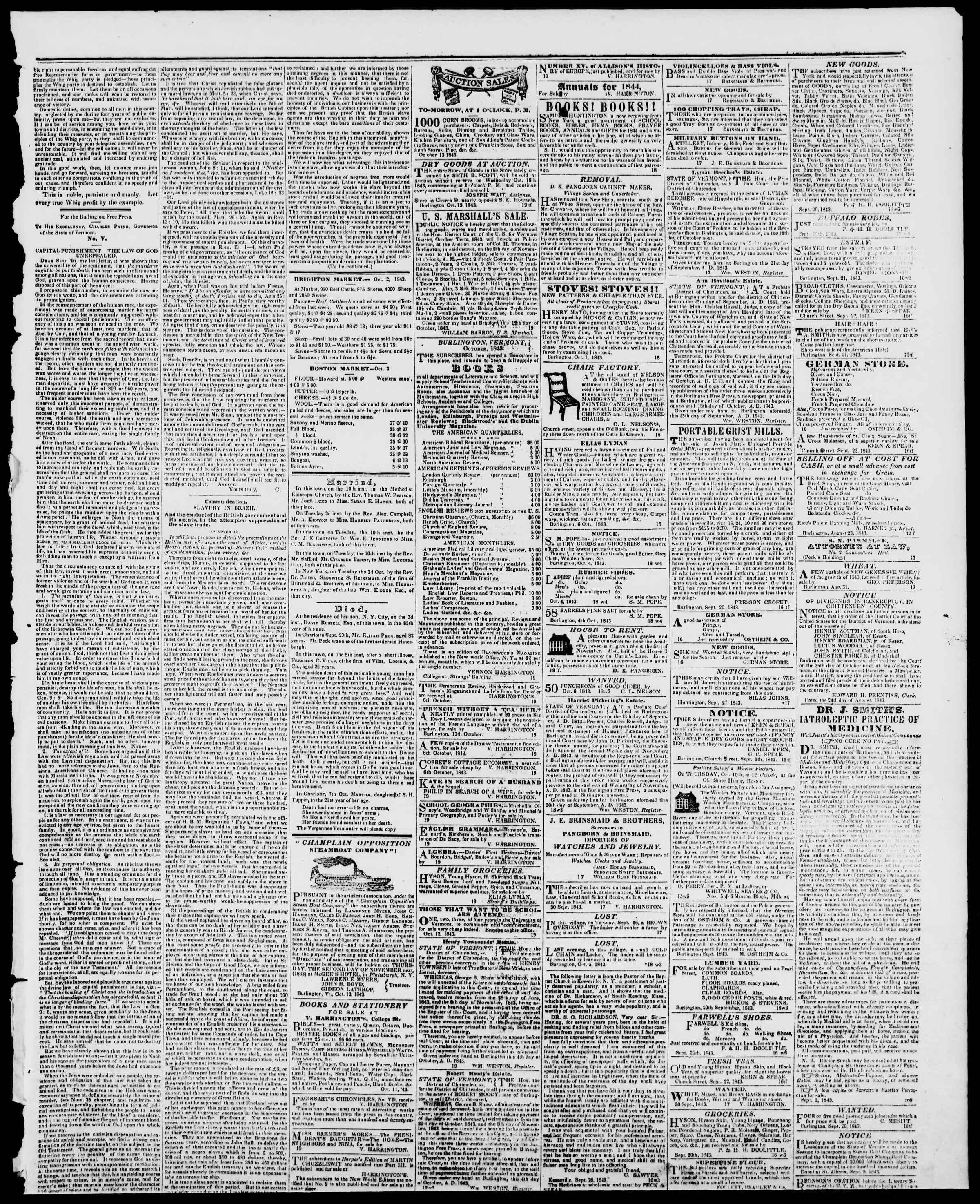 Newspaper of Burlington Free Press dated October 13, 1843 Page 3