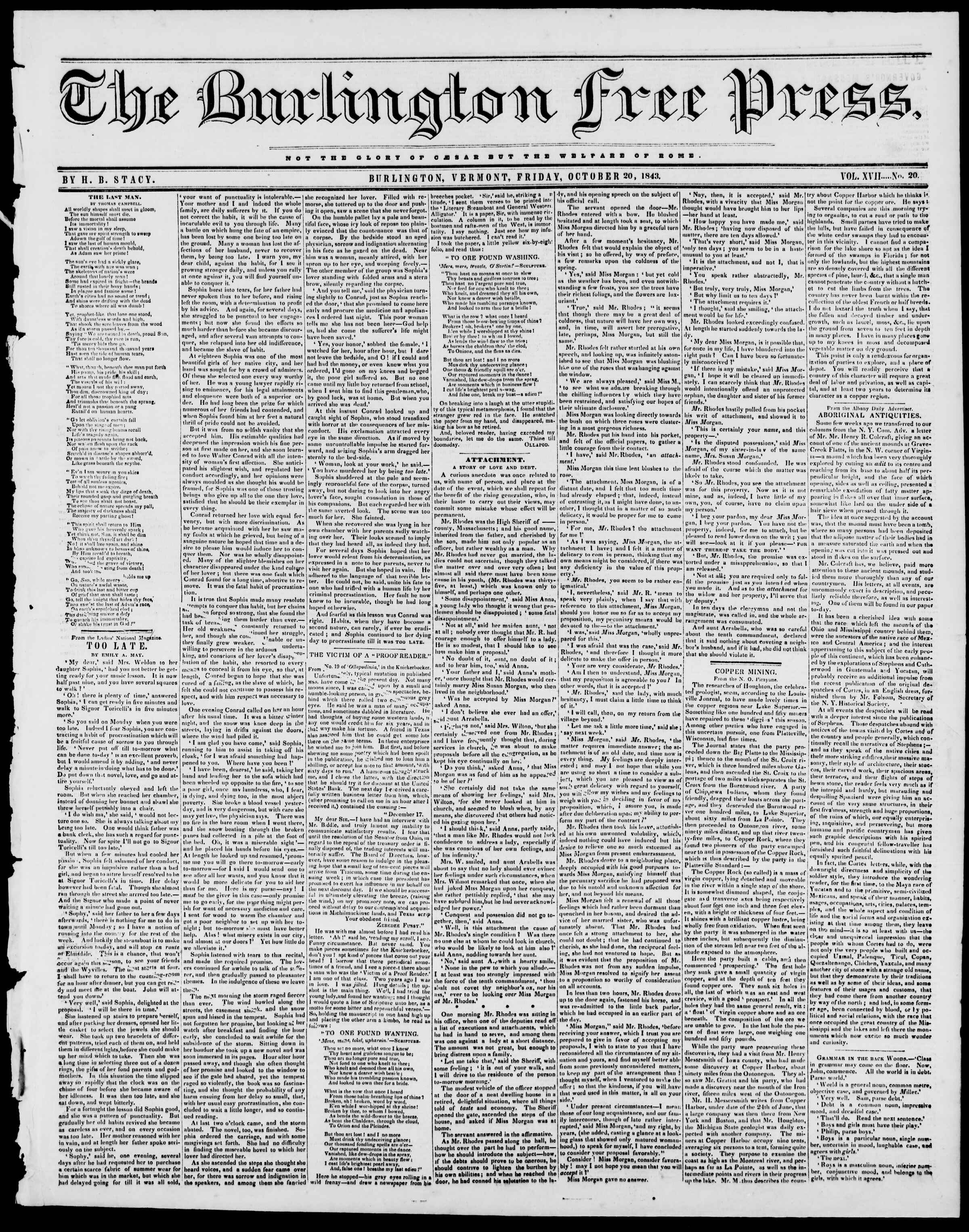 Newspaper of Burlington Free Press dated October 20, 1843 Page 1