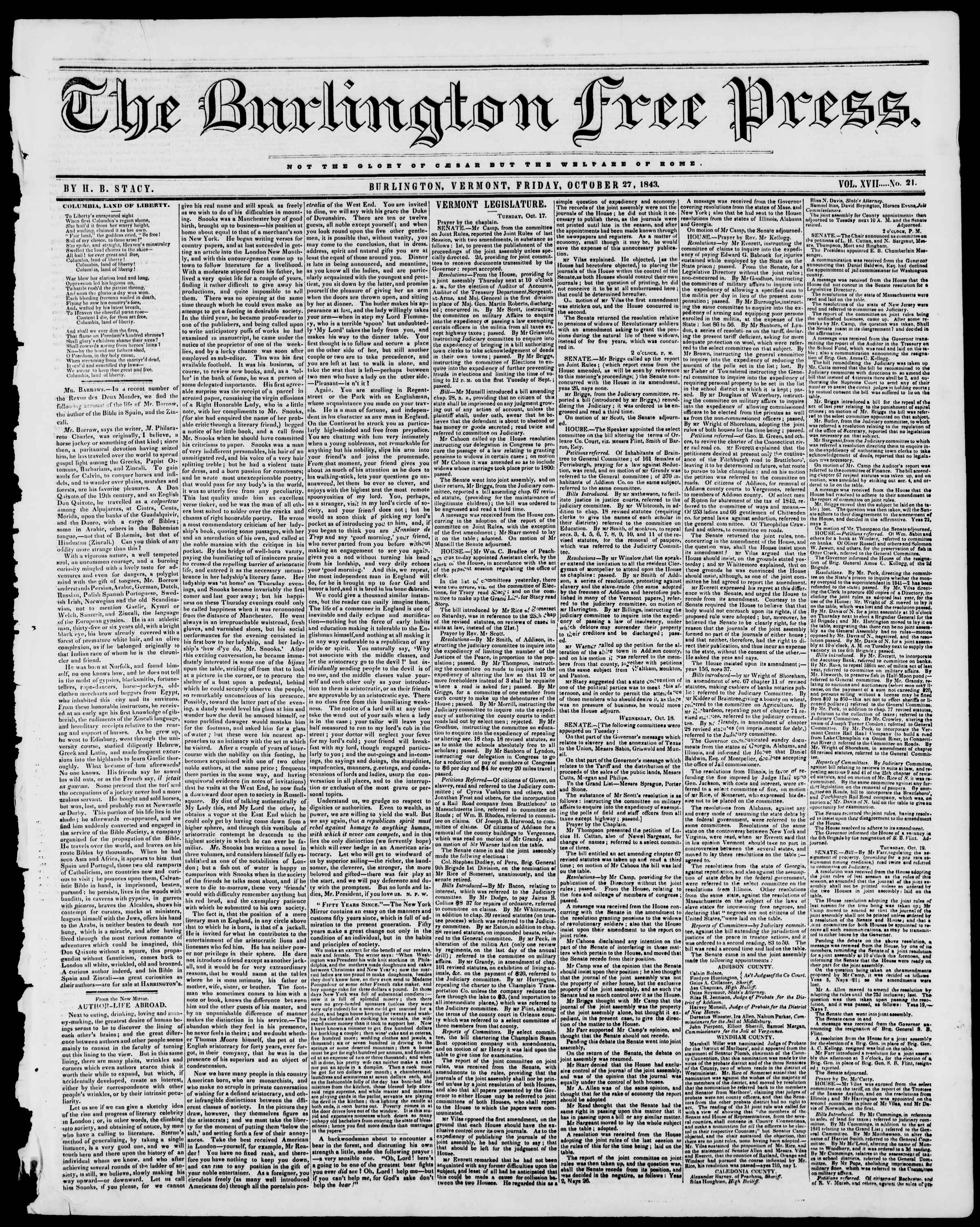 Newspaper of Burlington Free Press dated October 27, 1843 Page 1