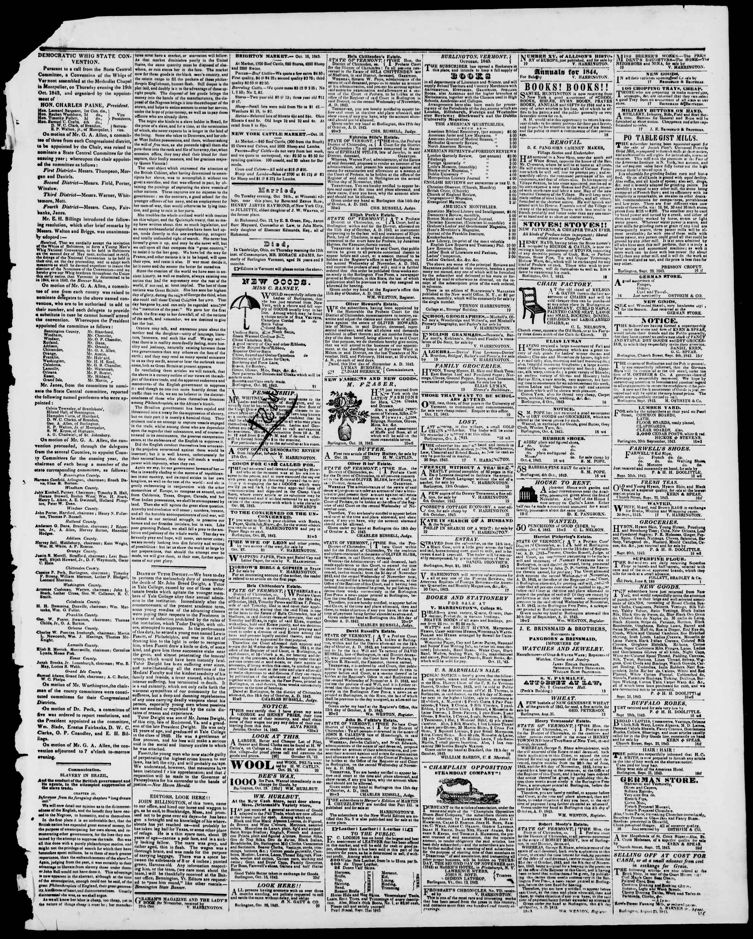 Newspaper of Burlington Free Press dated October 27, 1843 Page 3