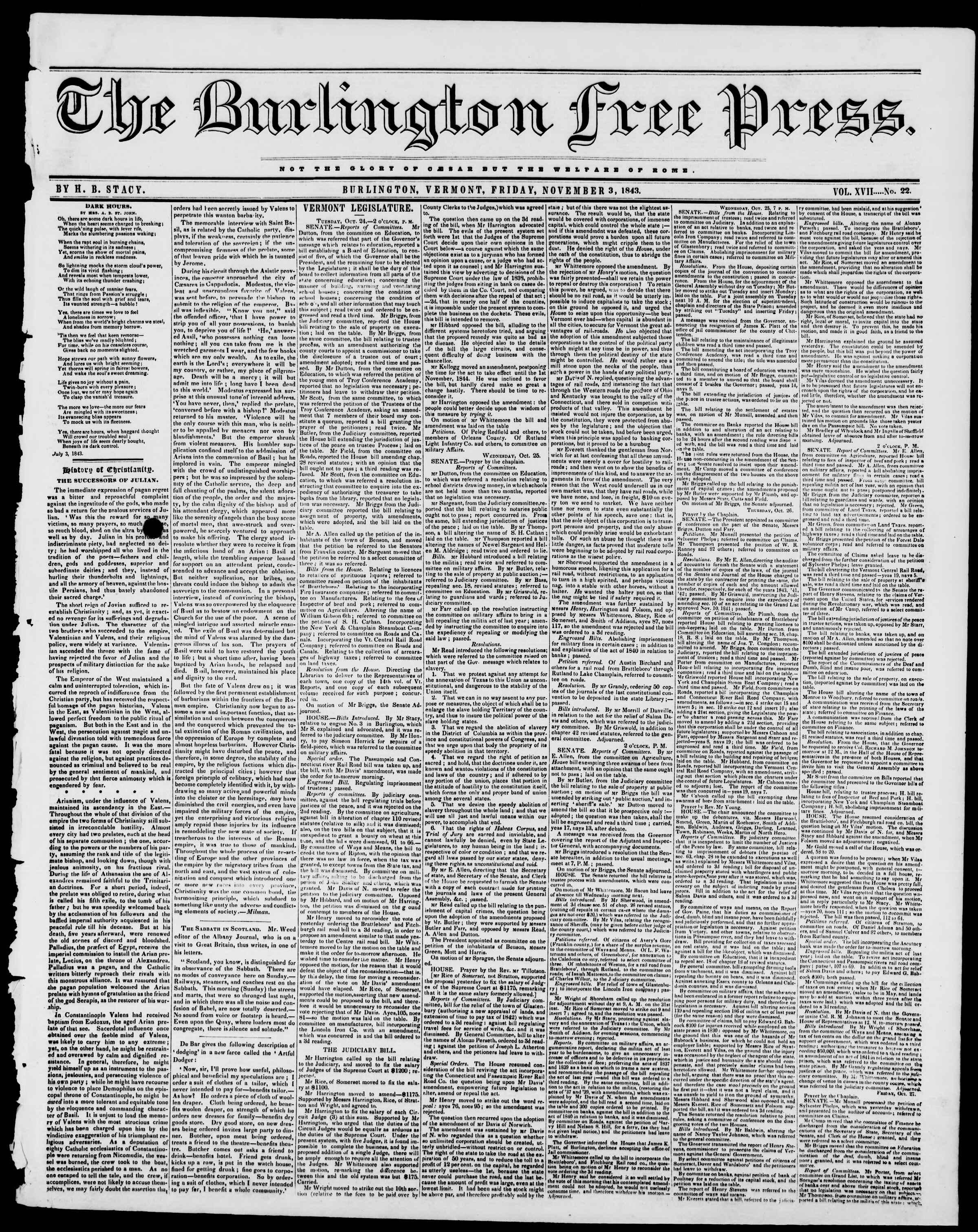 3 Kasım 1843 tarihli Burlington Free Press Gazetesi Sayfa 1