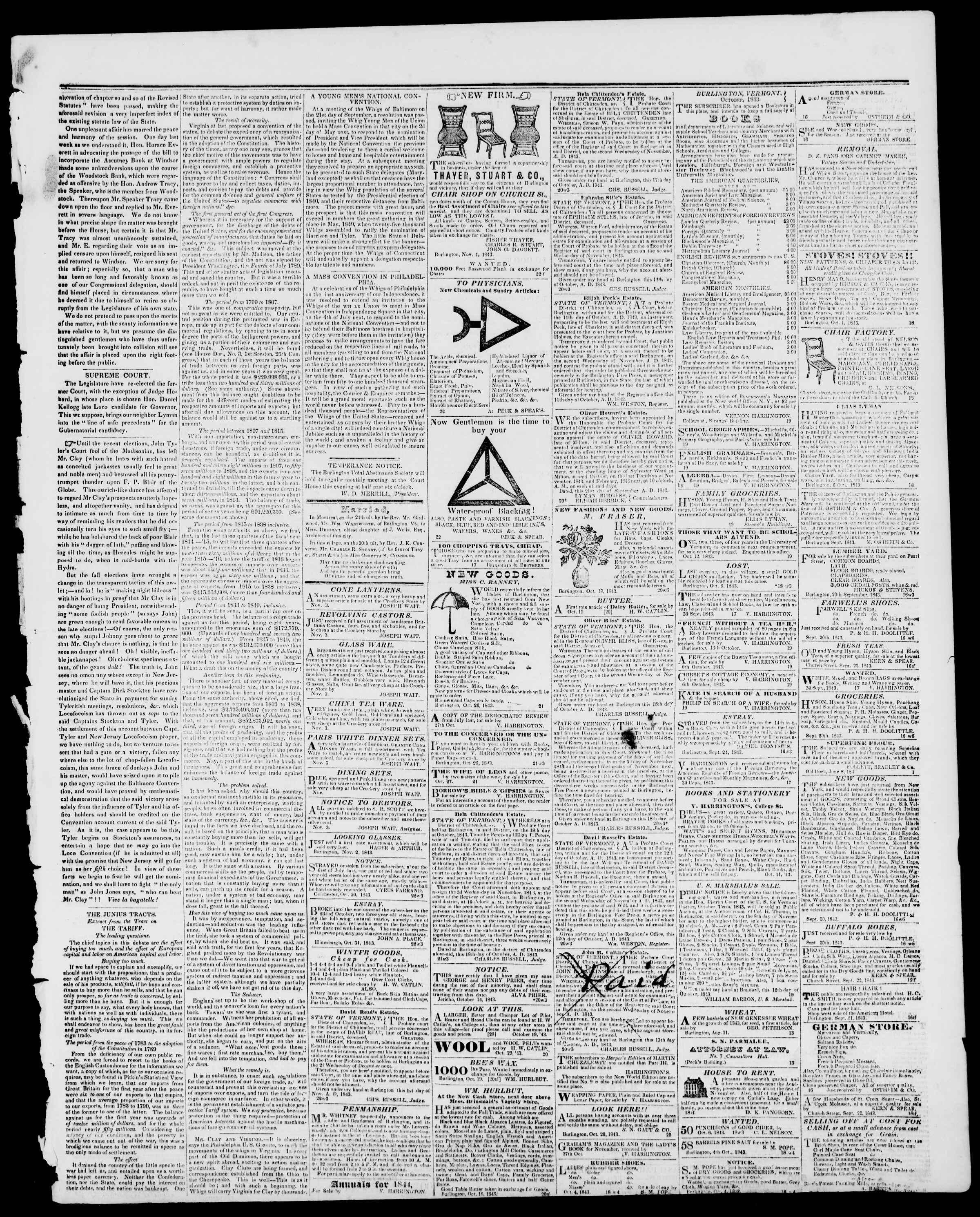 Newspaper of Burlington Free Press dated November 3, 1843 Page 3
