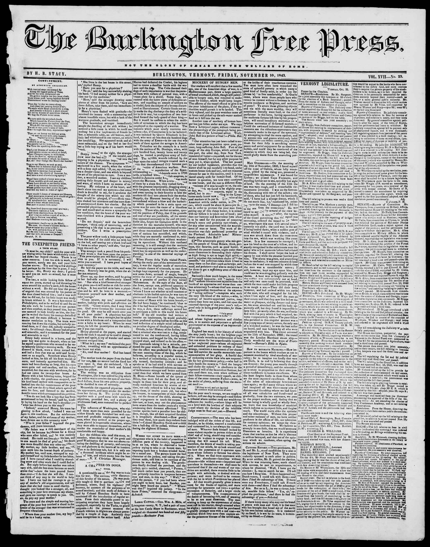 Newspaper of Burlington Free Press dated November 10, 1843 Page 1