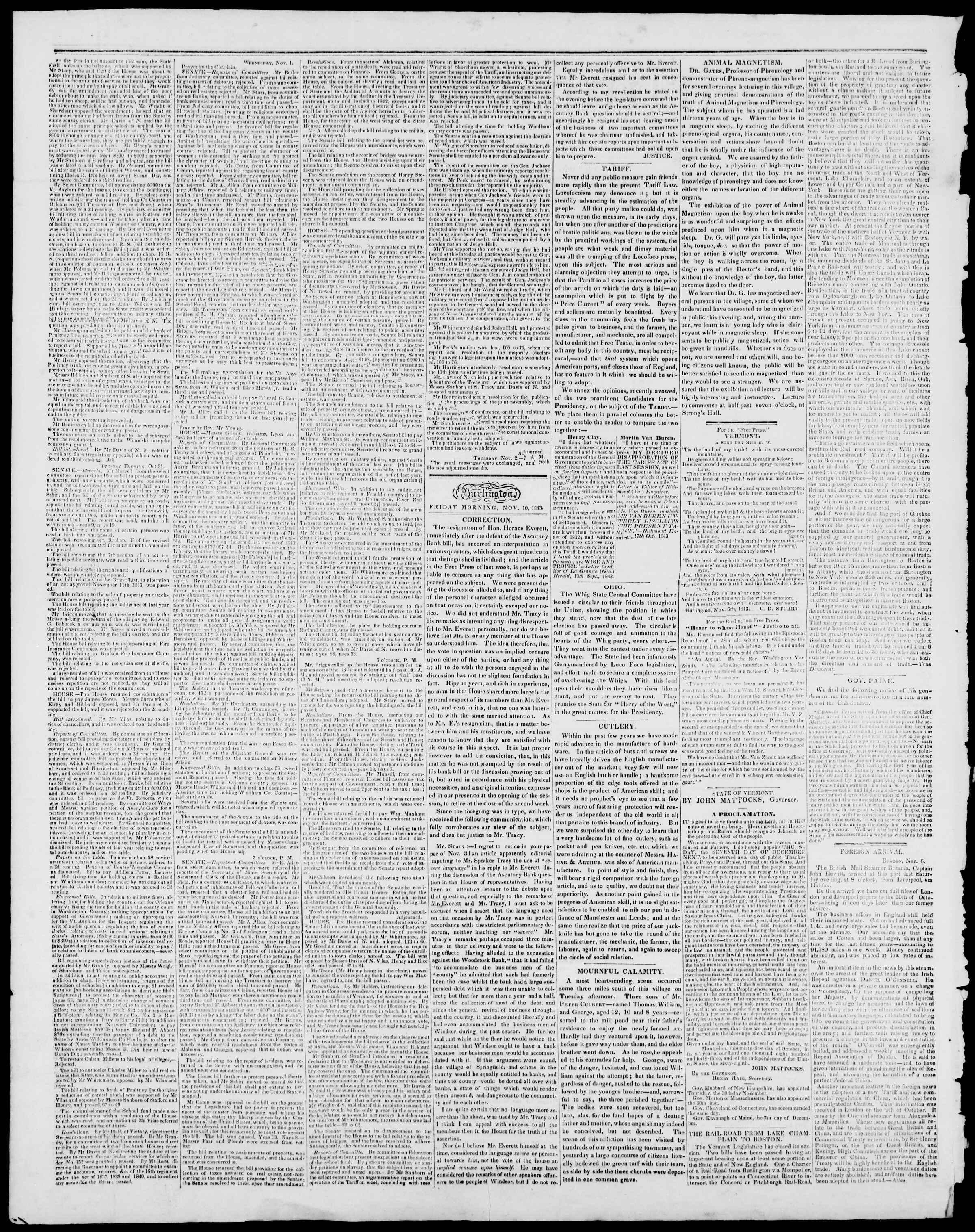 10 Kasım 1843 tarihli Burlington Free Press Gazetesi Sayfa 2