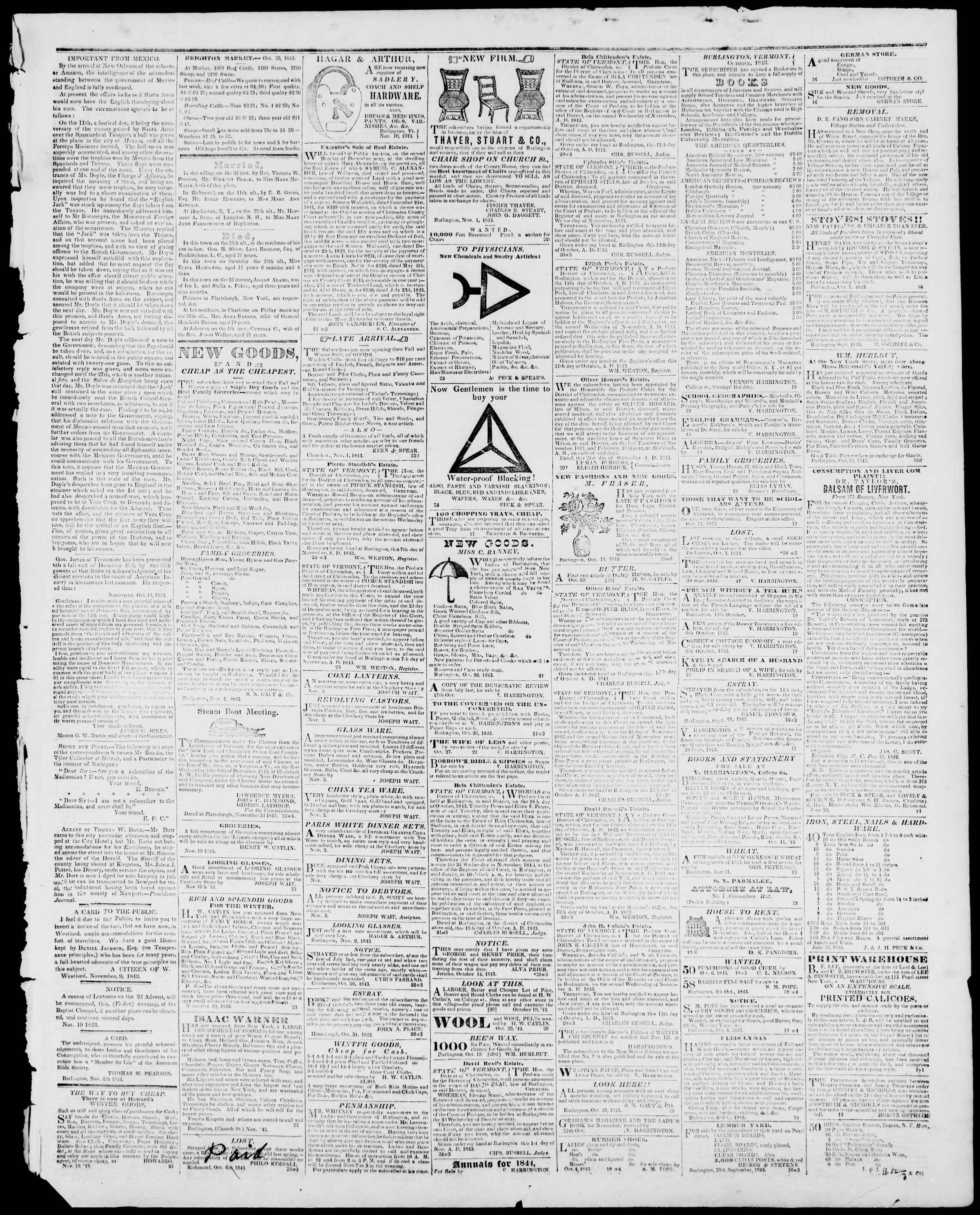 Newspaper of Burlington Free Press dated November 10, 1843 Page 3
