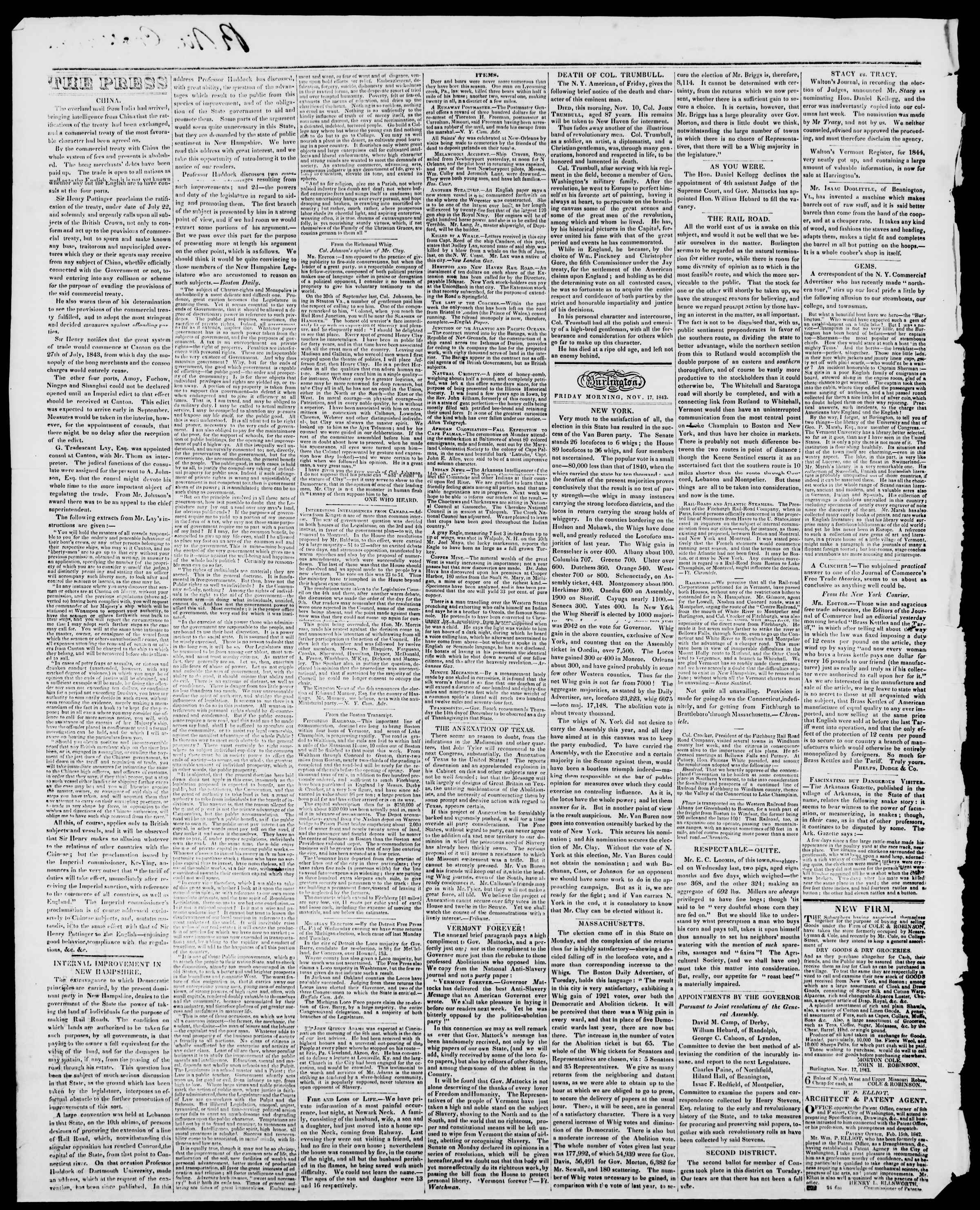 Newspaper of Burlington Free Press dated November 17, 1843 Page 2