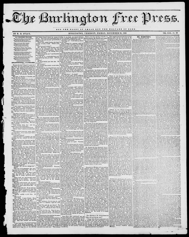 Newspaper of Burlington Free Press dated November 24, 1843 Page 1
