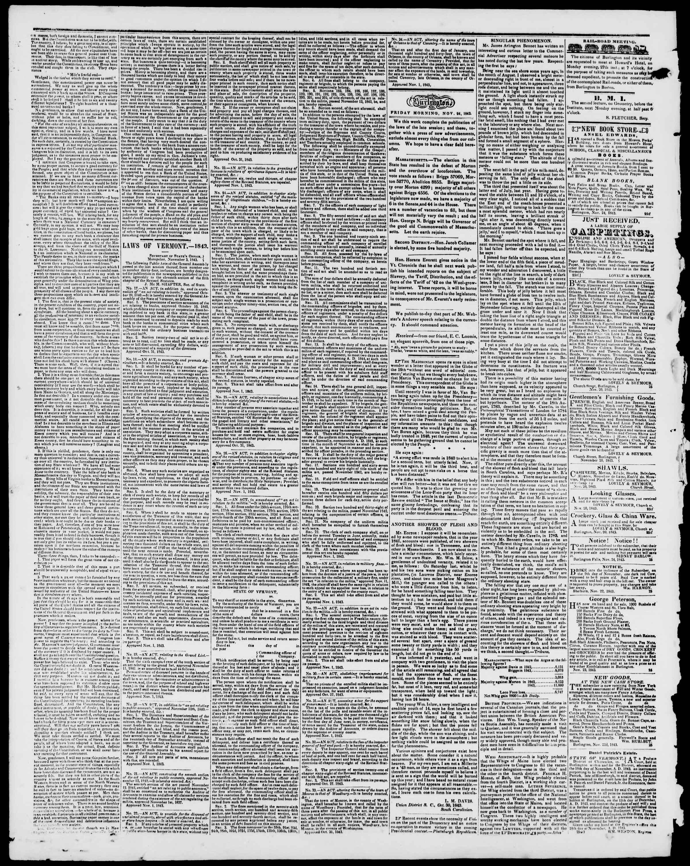 Newspaper of Burlington Free Press dated November 24, 1843 Page 2