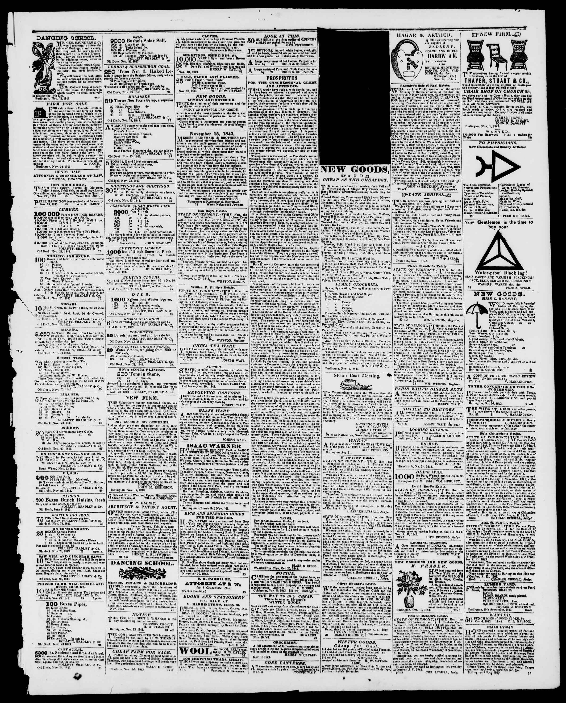 Newspaper of Burlington Free Press dated November 24, 1843 Page 3
