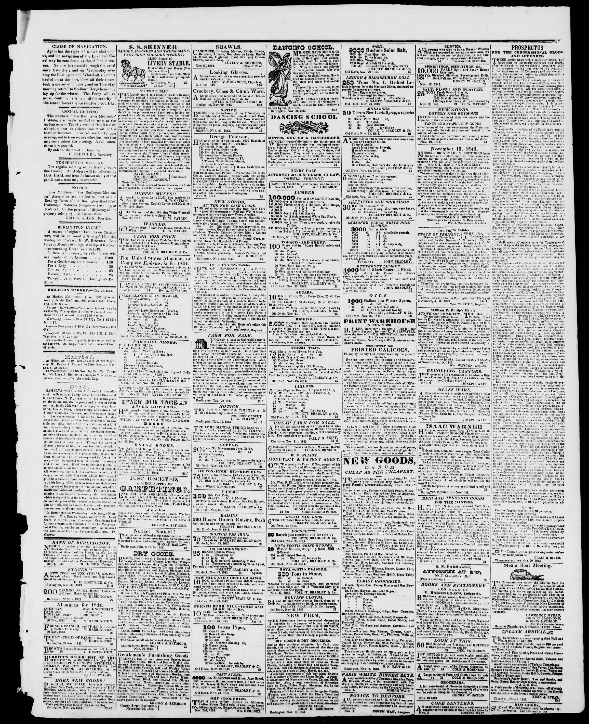 Newspaper of Burlington Free Press dated December 1, 1843 Page 3