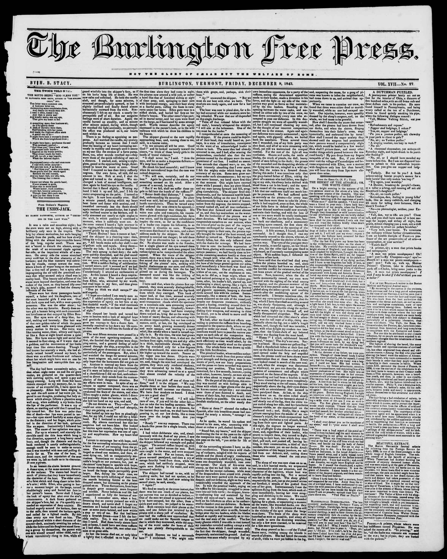 Newspaper of Burlington Free Press dated December 8, 1843 Page 1