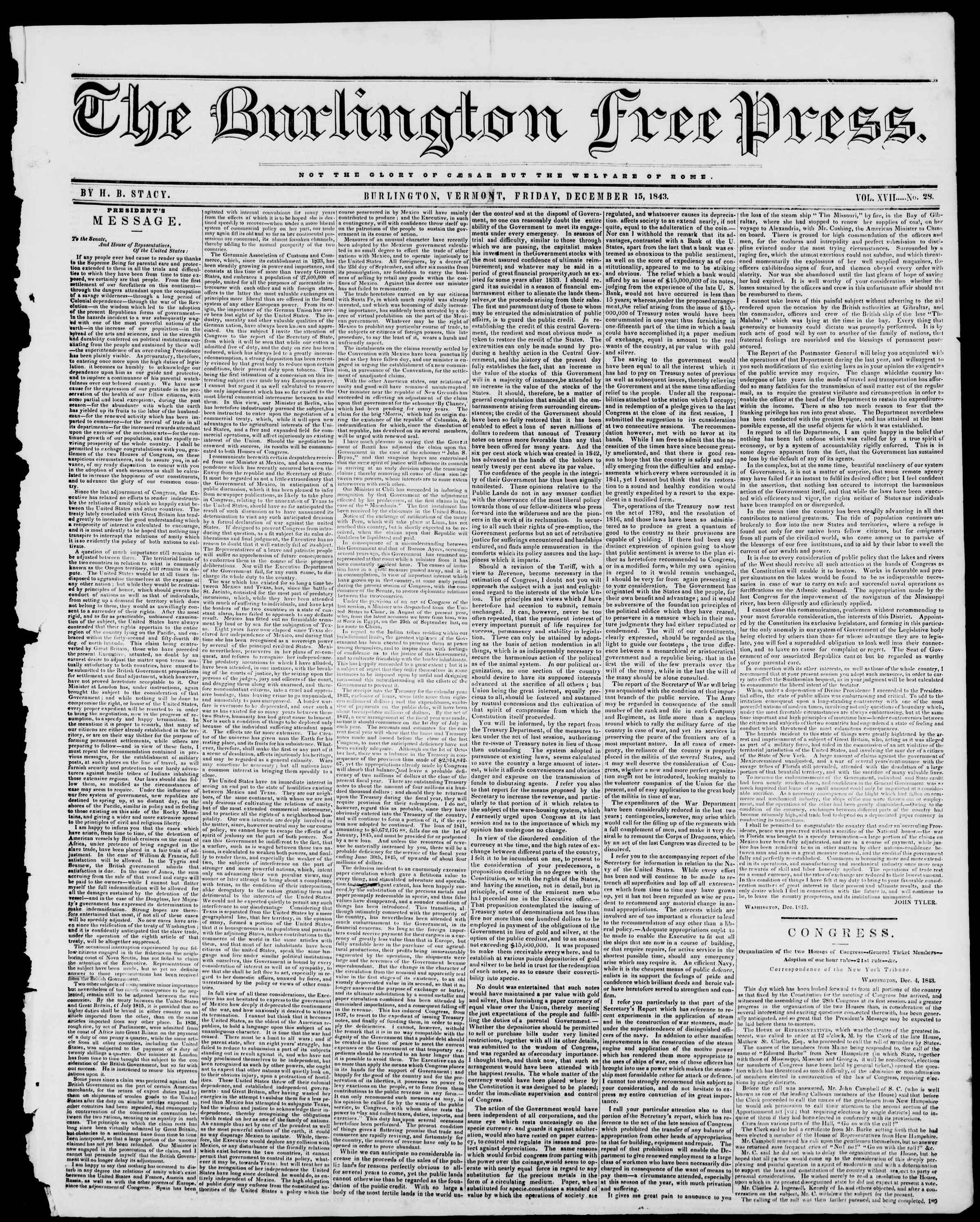 Newspaper of Burlington Free Press dated December 15, 1843 Page 1