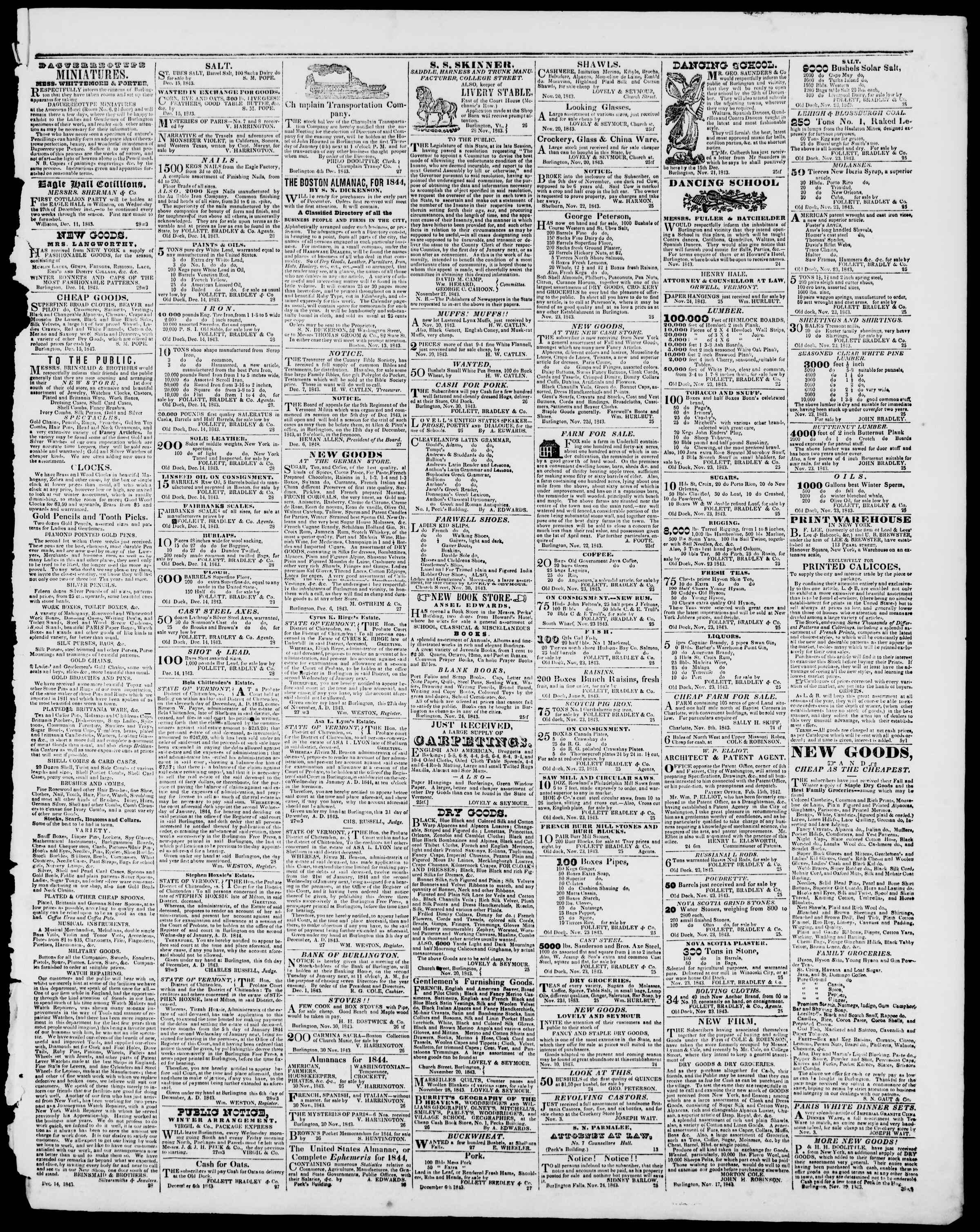 Newspaper of Burlington Free Press dated December 15, 1843 Page 3