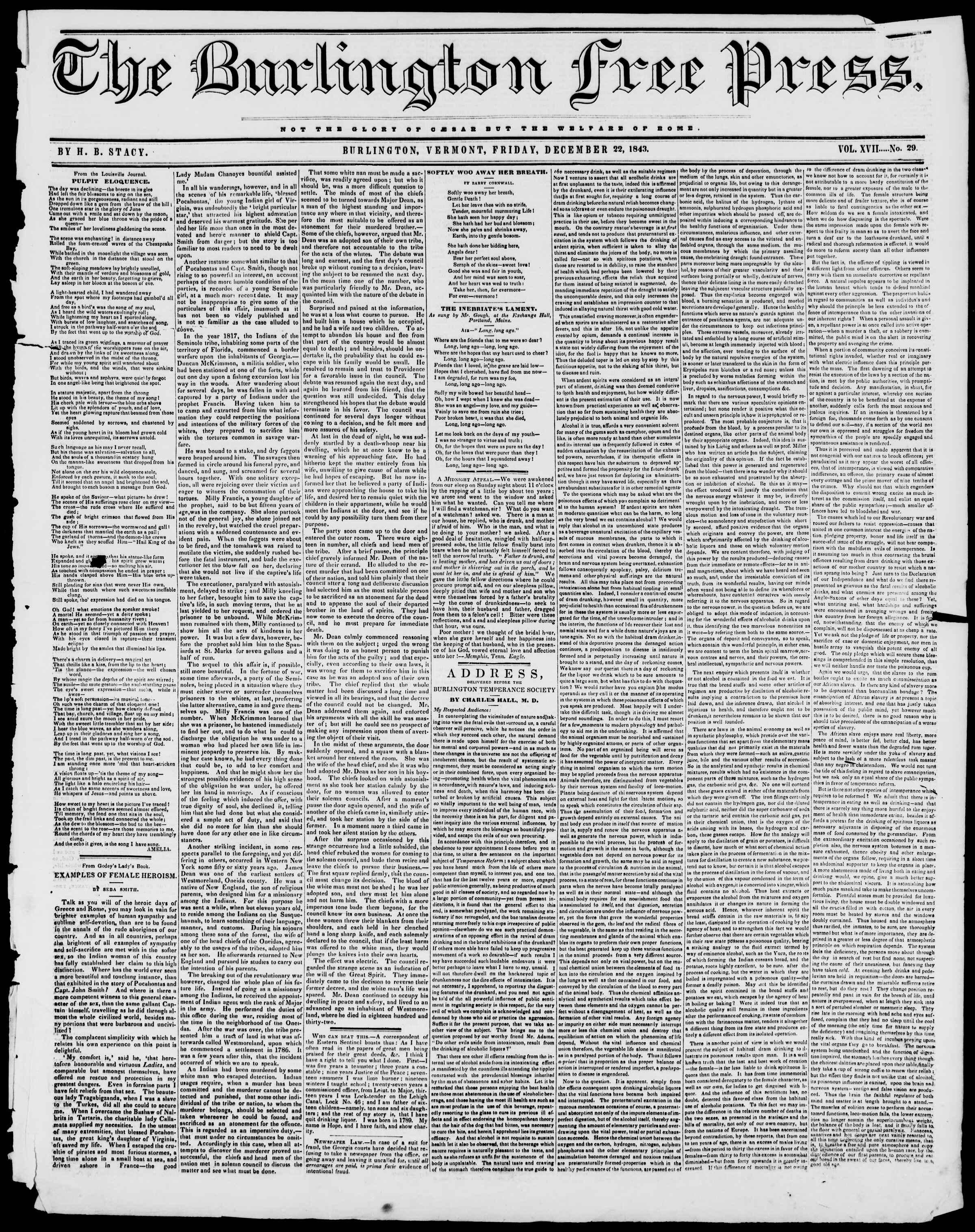 Newspaper of Burlington Free Press dated December 22, 1843 Page 1