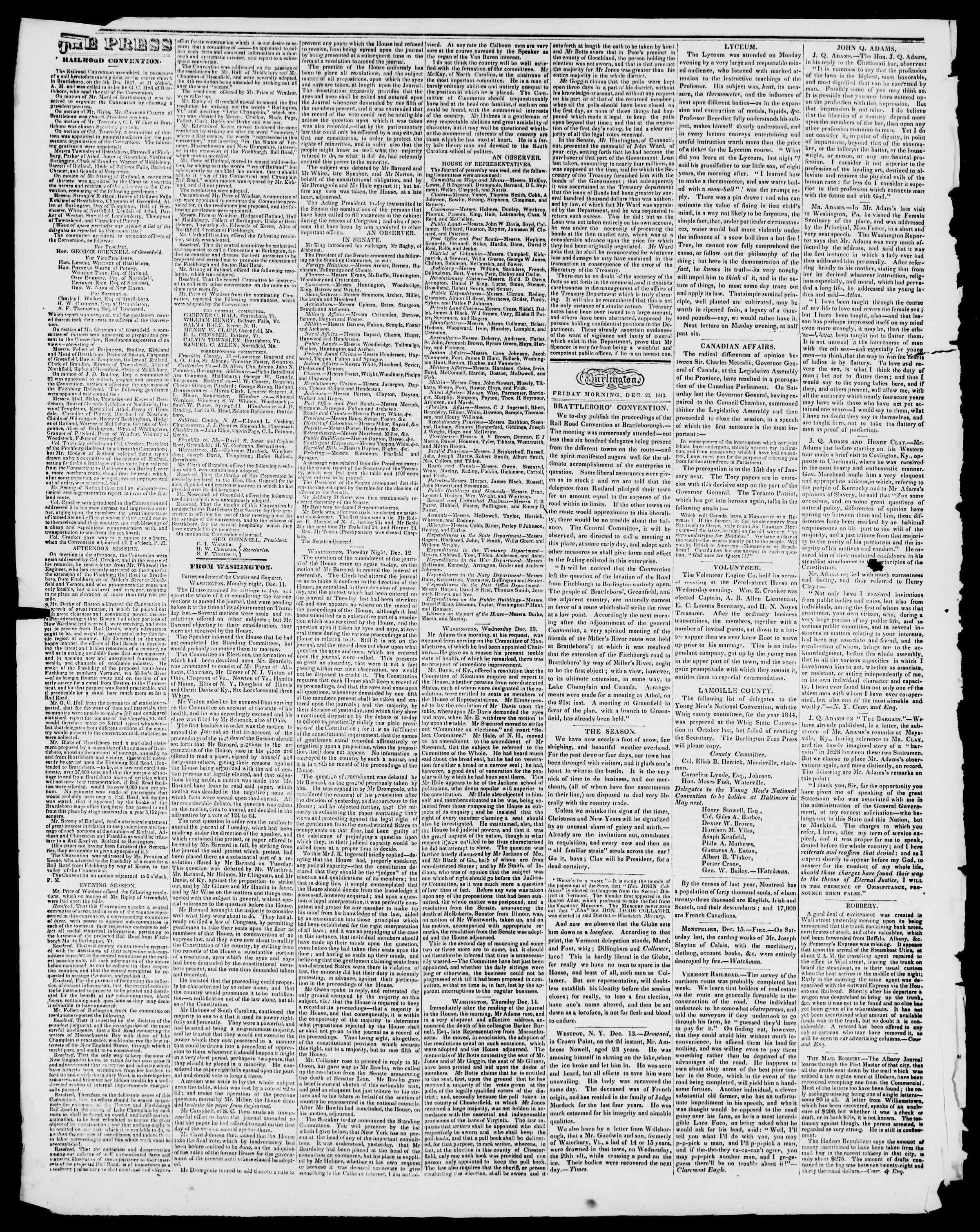 Newspaper of Burlington Free Press dated December 22, 1843 Page 2