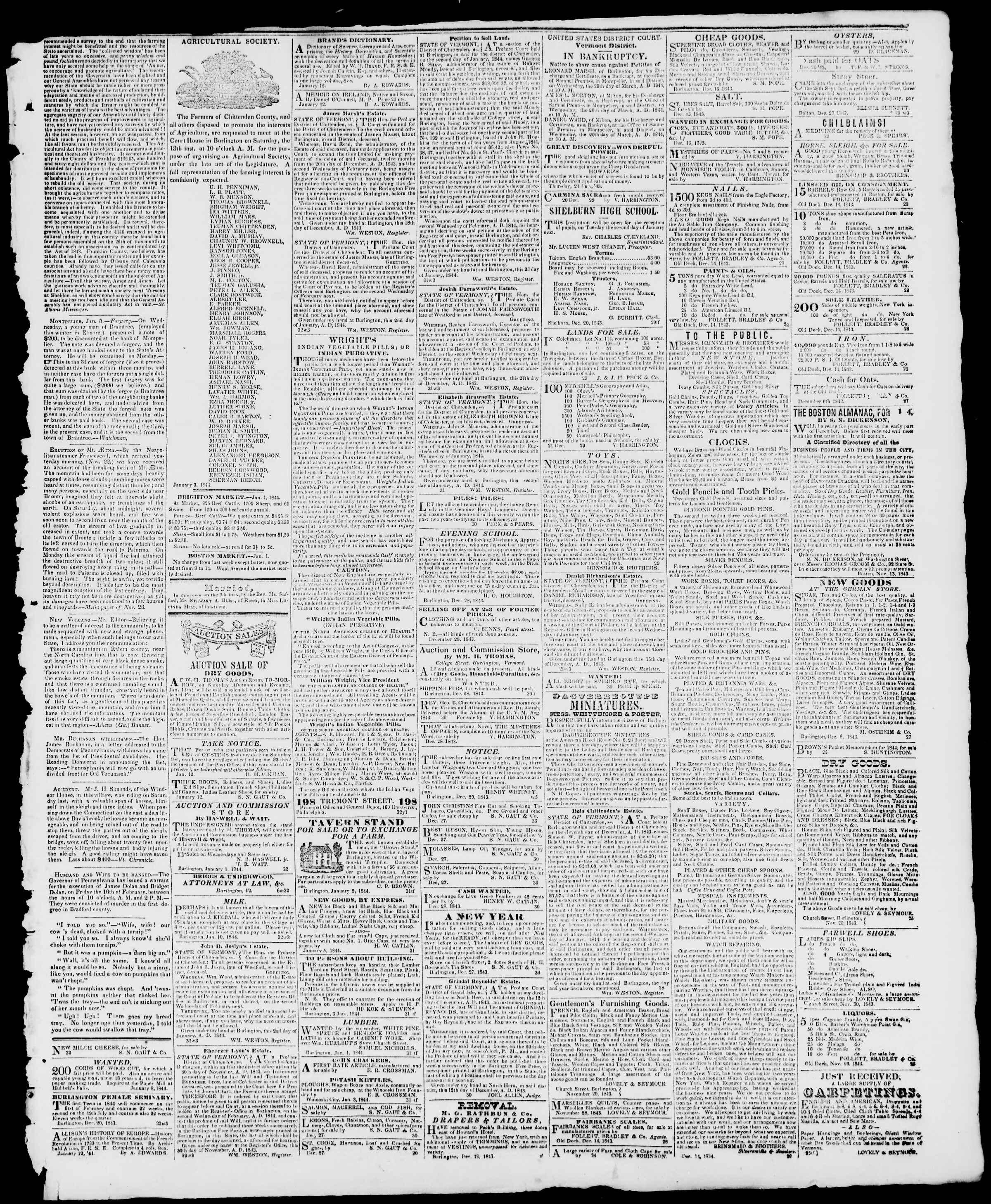 Newspaper of Burlington Free Press dated January 12, 1844 Page 3