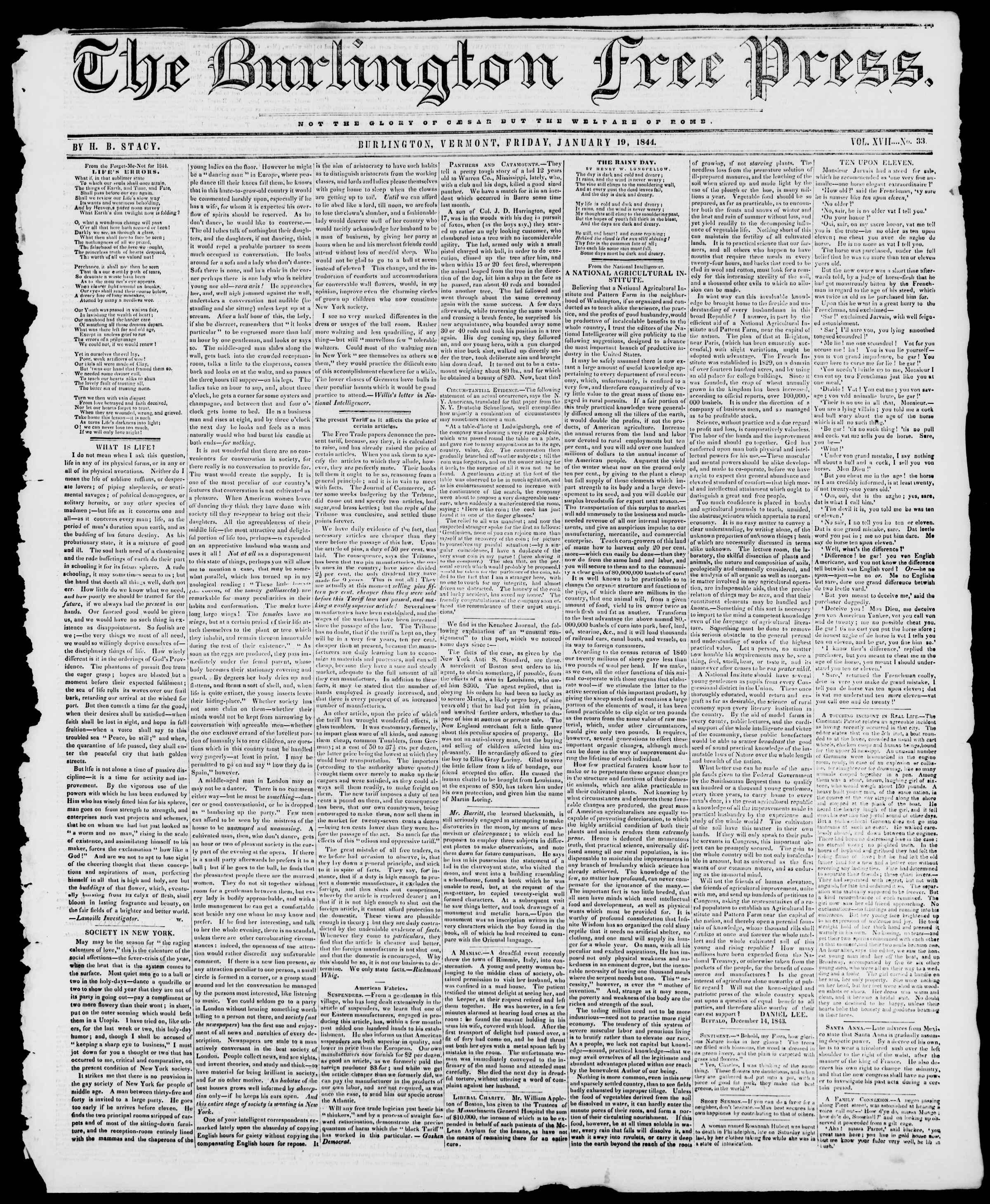 19 Ocak 1844 tarihli Burlington Free Press Gazetesi Sayfa 1