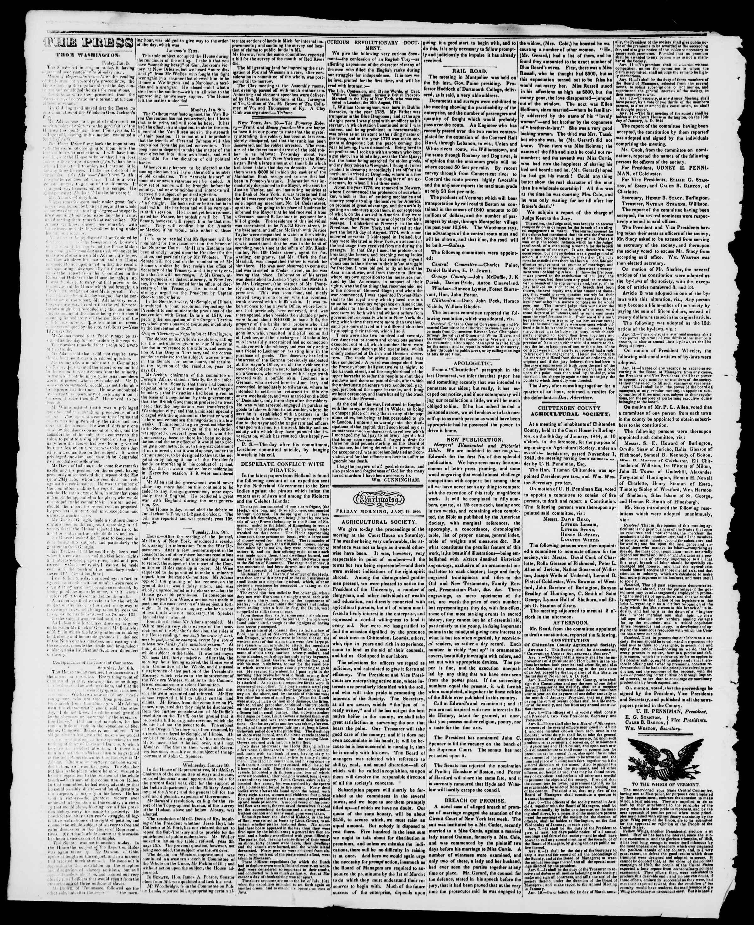 Newspaper of Burlington Free Press dated January 19, 1844 Page 2