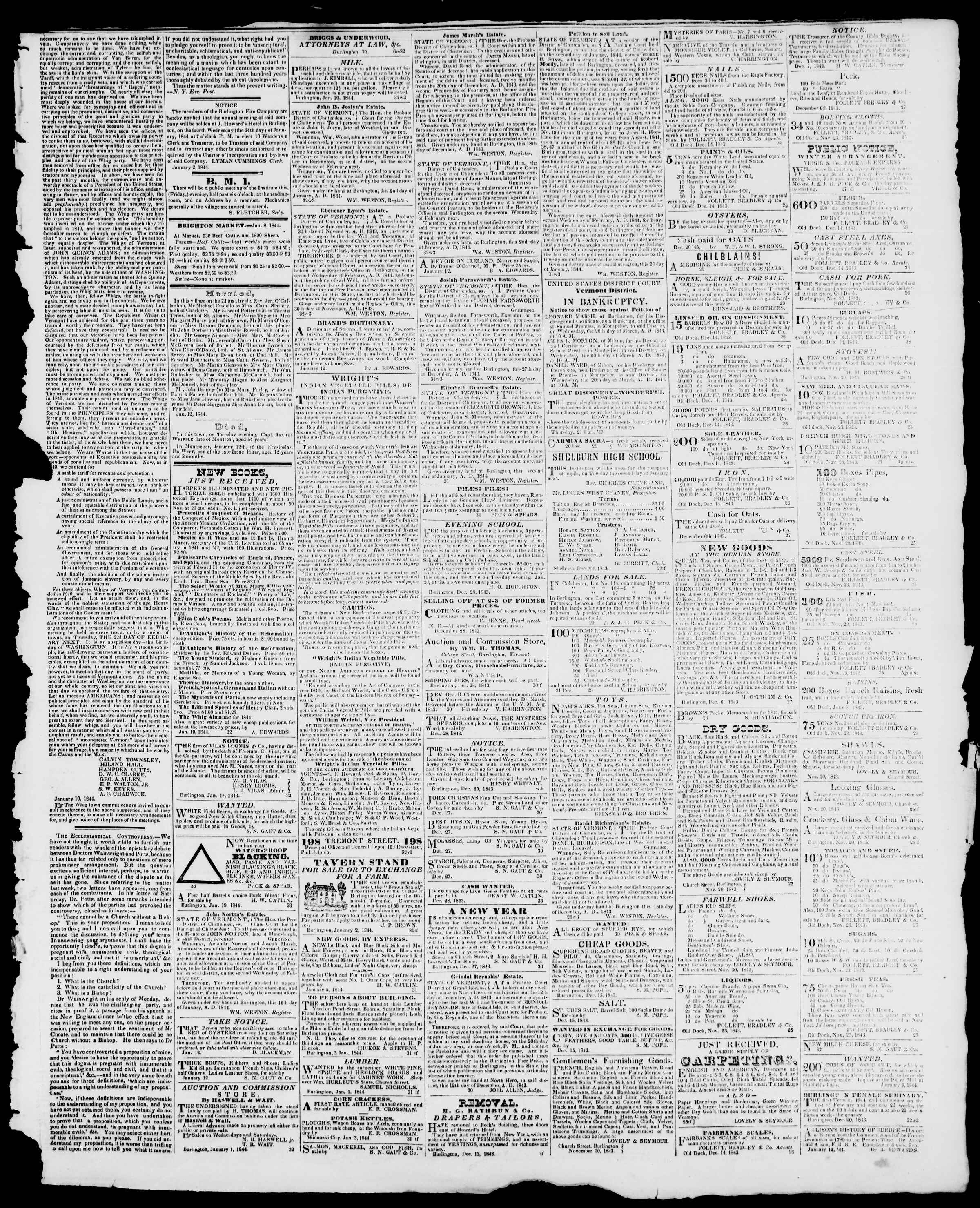 Newspaper of Burlington Free Press dated January 19, 1844 Page 3