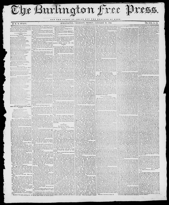 Newspaper of Burlington Free Press dated January 26, 1844 Page 1
