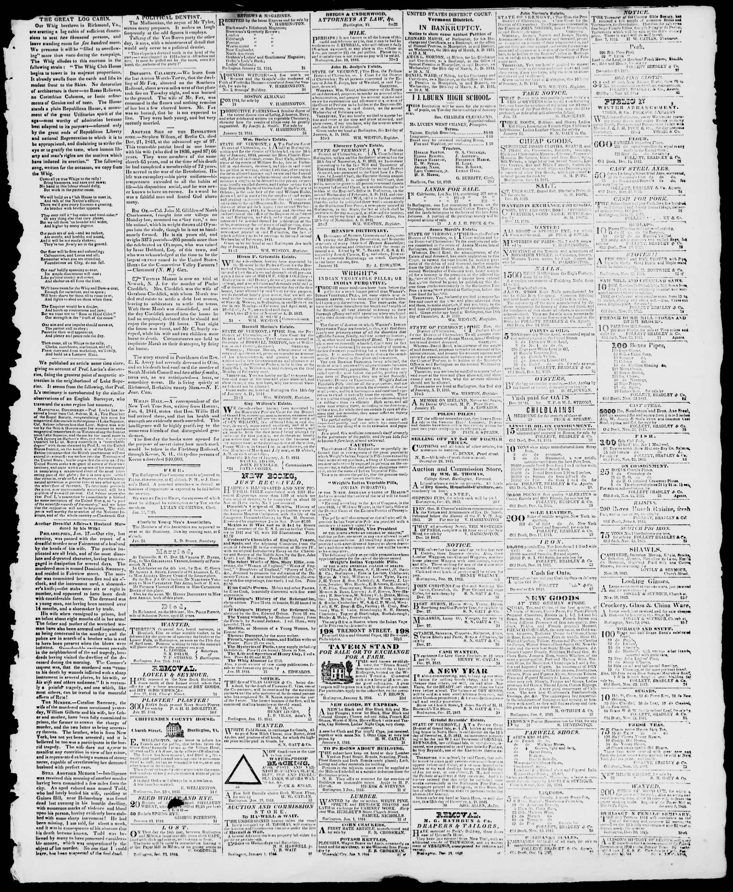 Newspaper of Burlington Free Press dated January 26, 1844 Page 3
