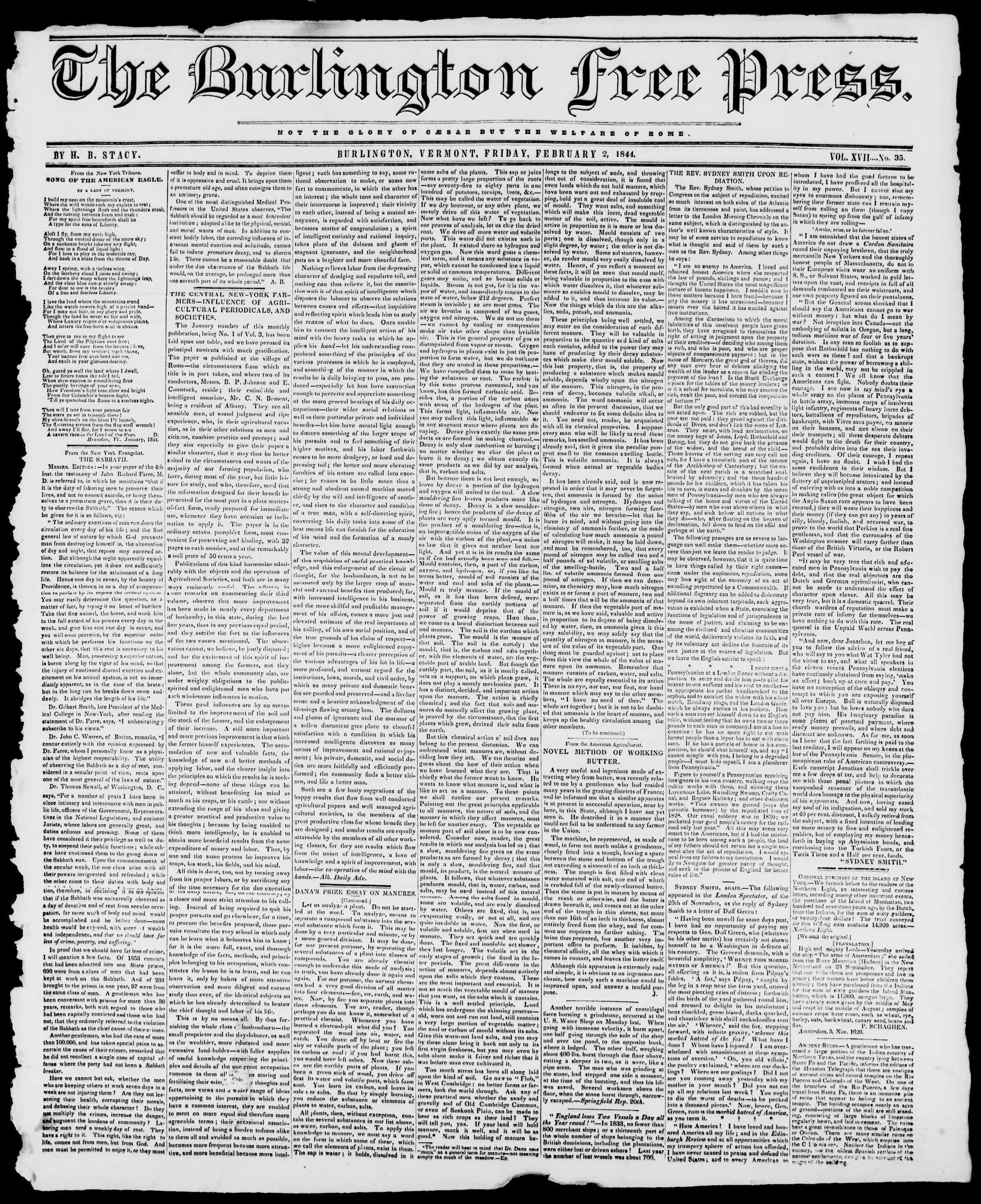 Newspaper of Burlington Free Press dated February 2, 1844 Page 1