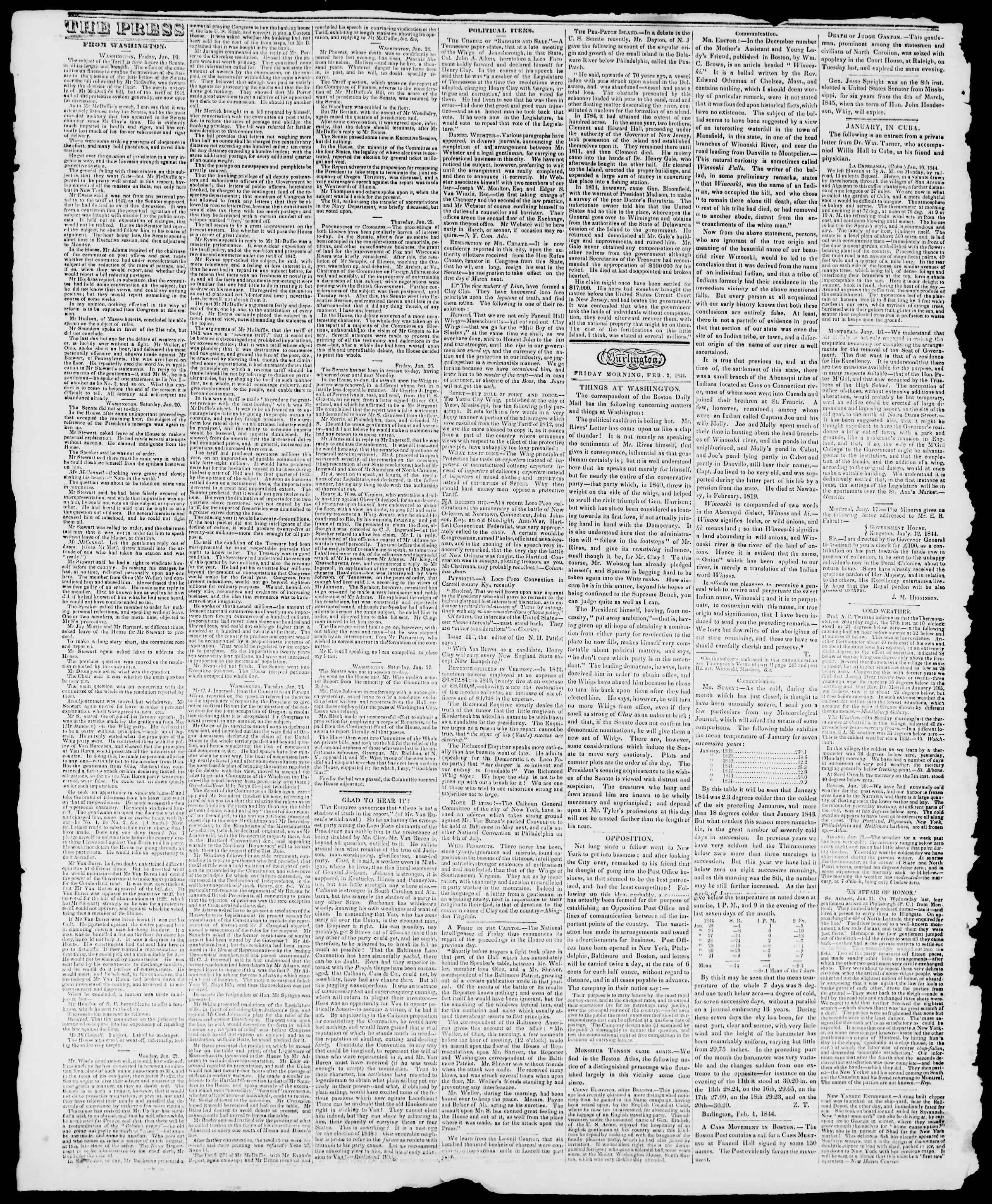 Newspaper of Burlington Free Press dated February 2, 1844 Page 2