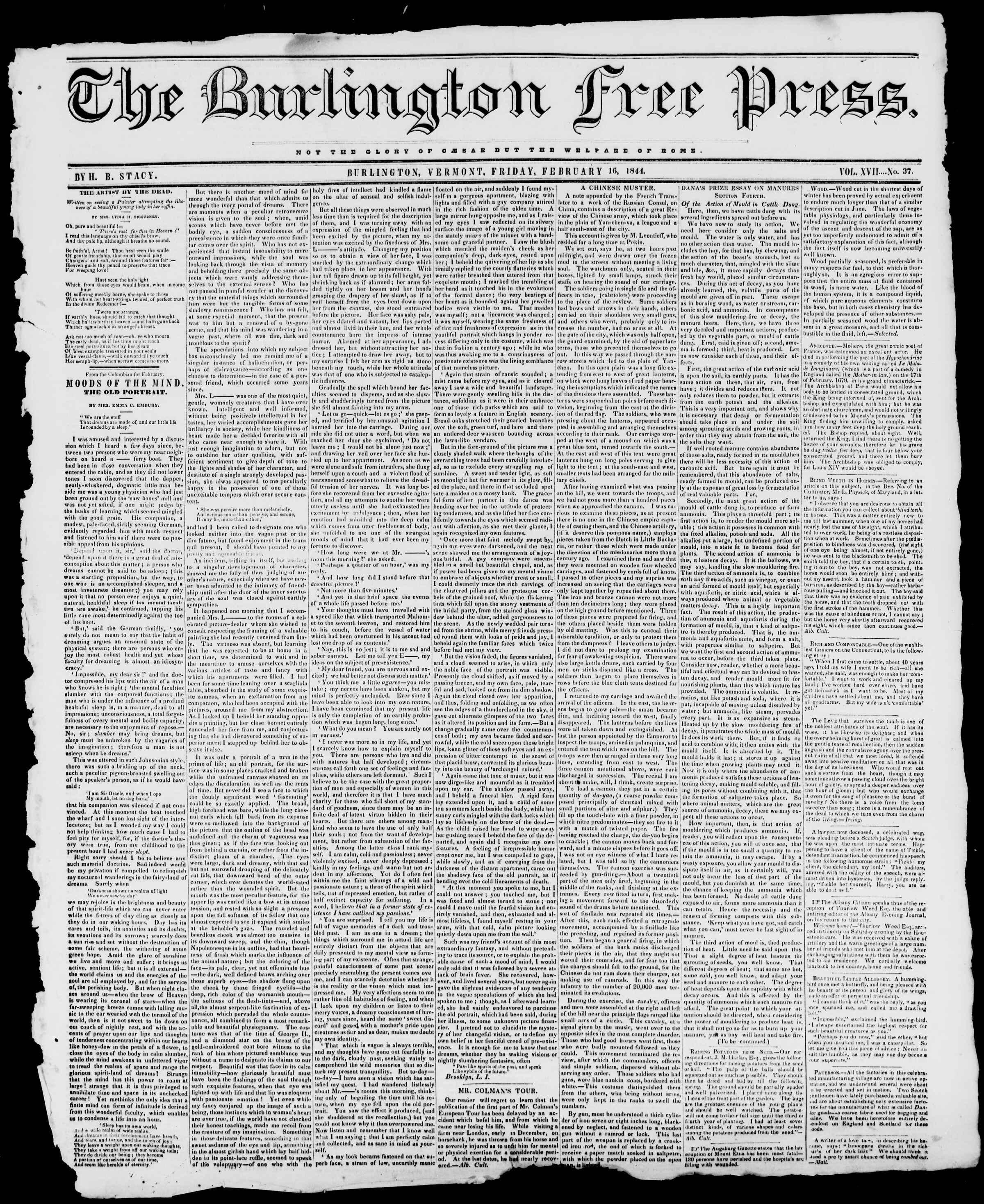 Newspaper of Burlington Free Press dated February 16, 1844 Page 1