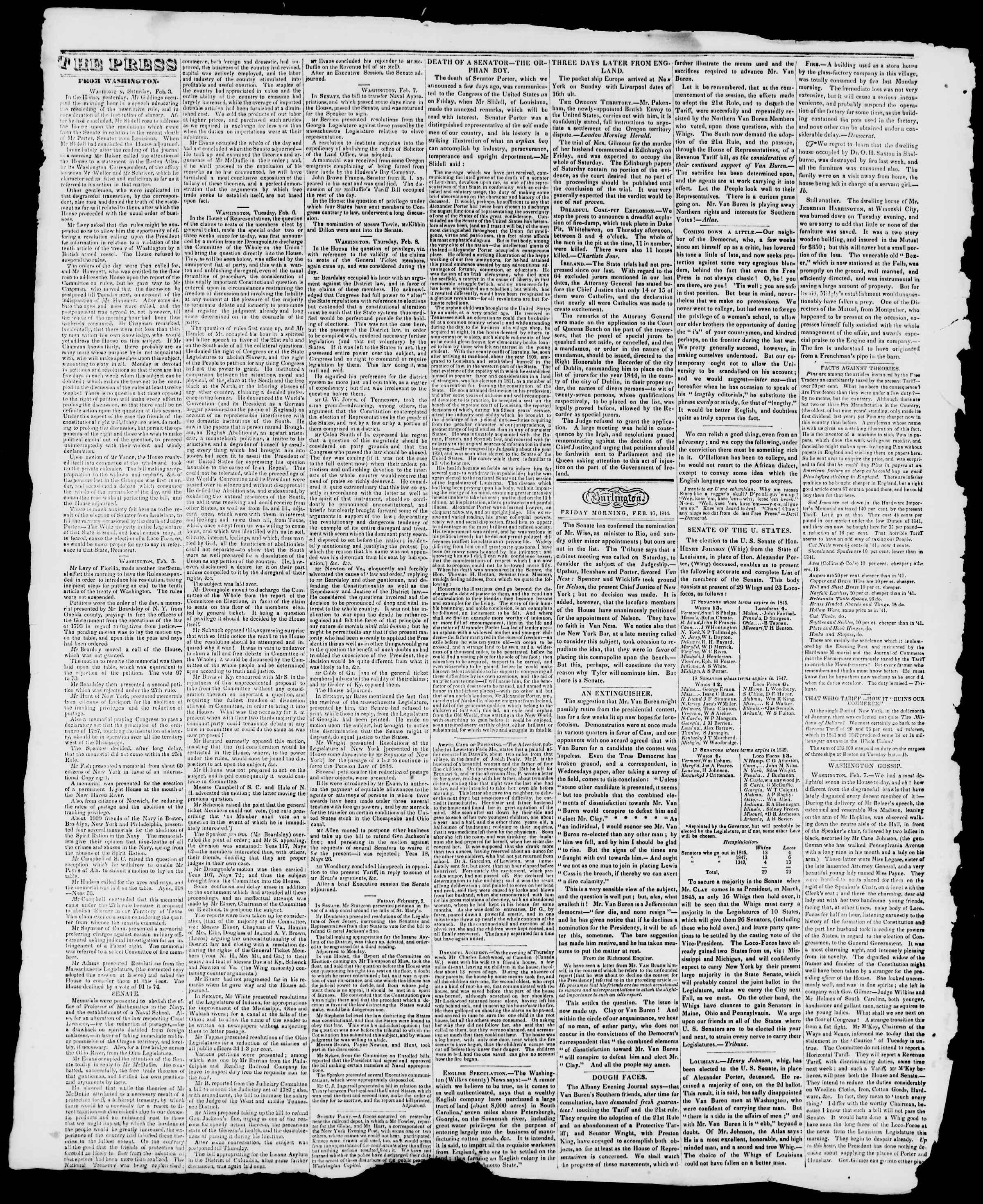 Newspaper of Burlington Free Press dated February 16, 1844 Page 2