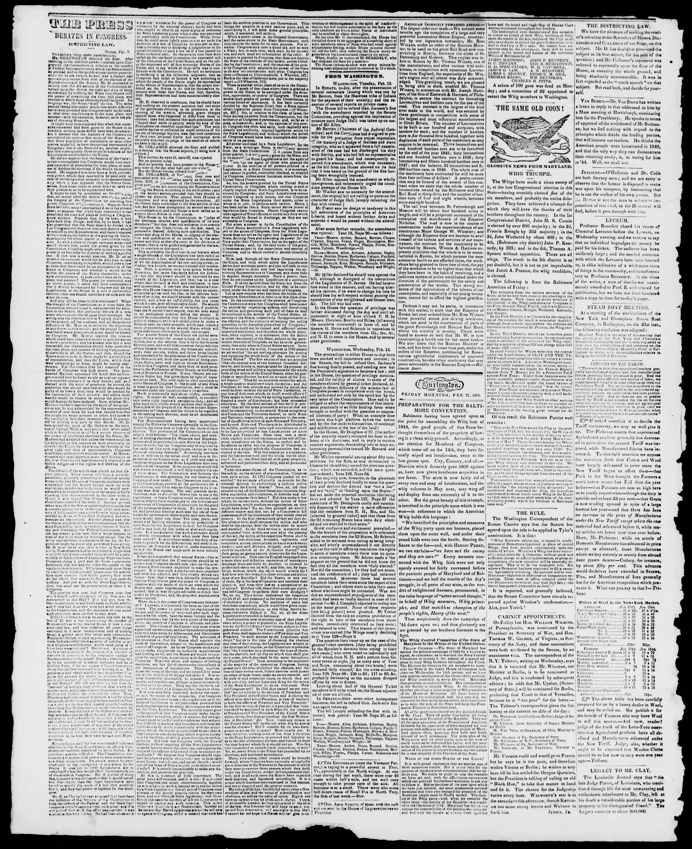 23 Şubat 1844 tarihli Burlington Free Press Gazetesi Sayfa 2